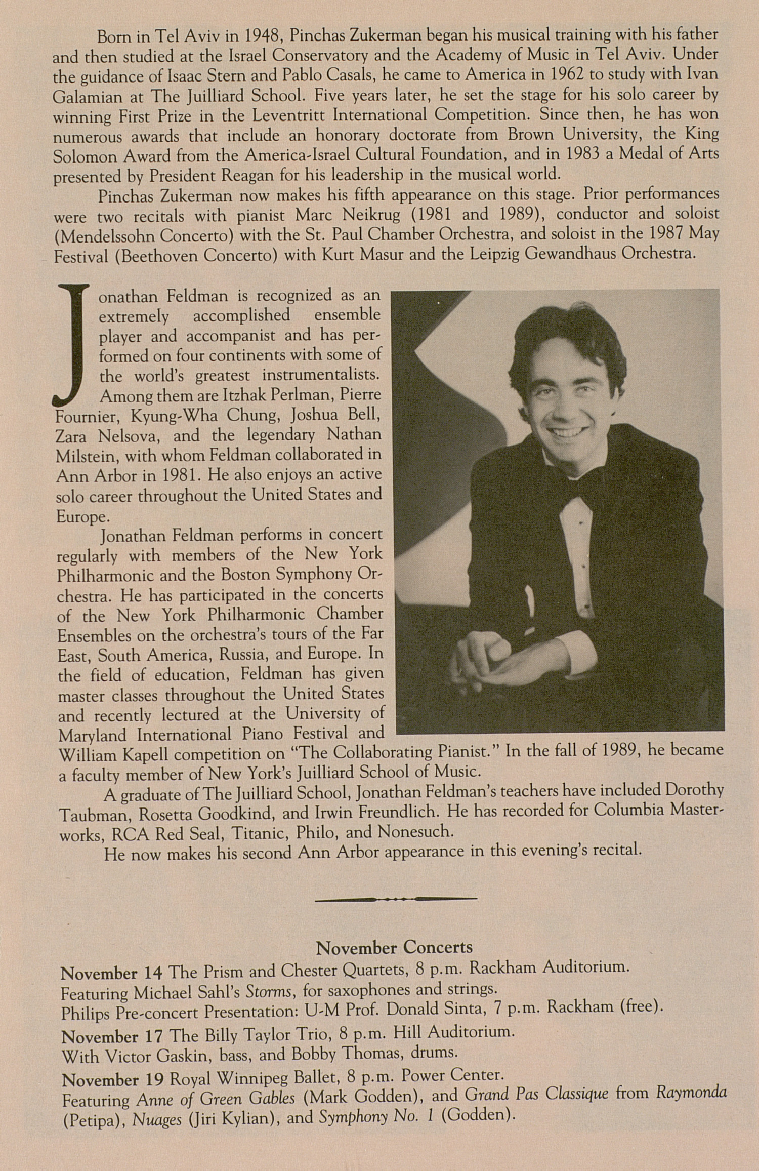 UMS Concert Program, October 30, 1990: University Musical Society --  image