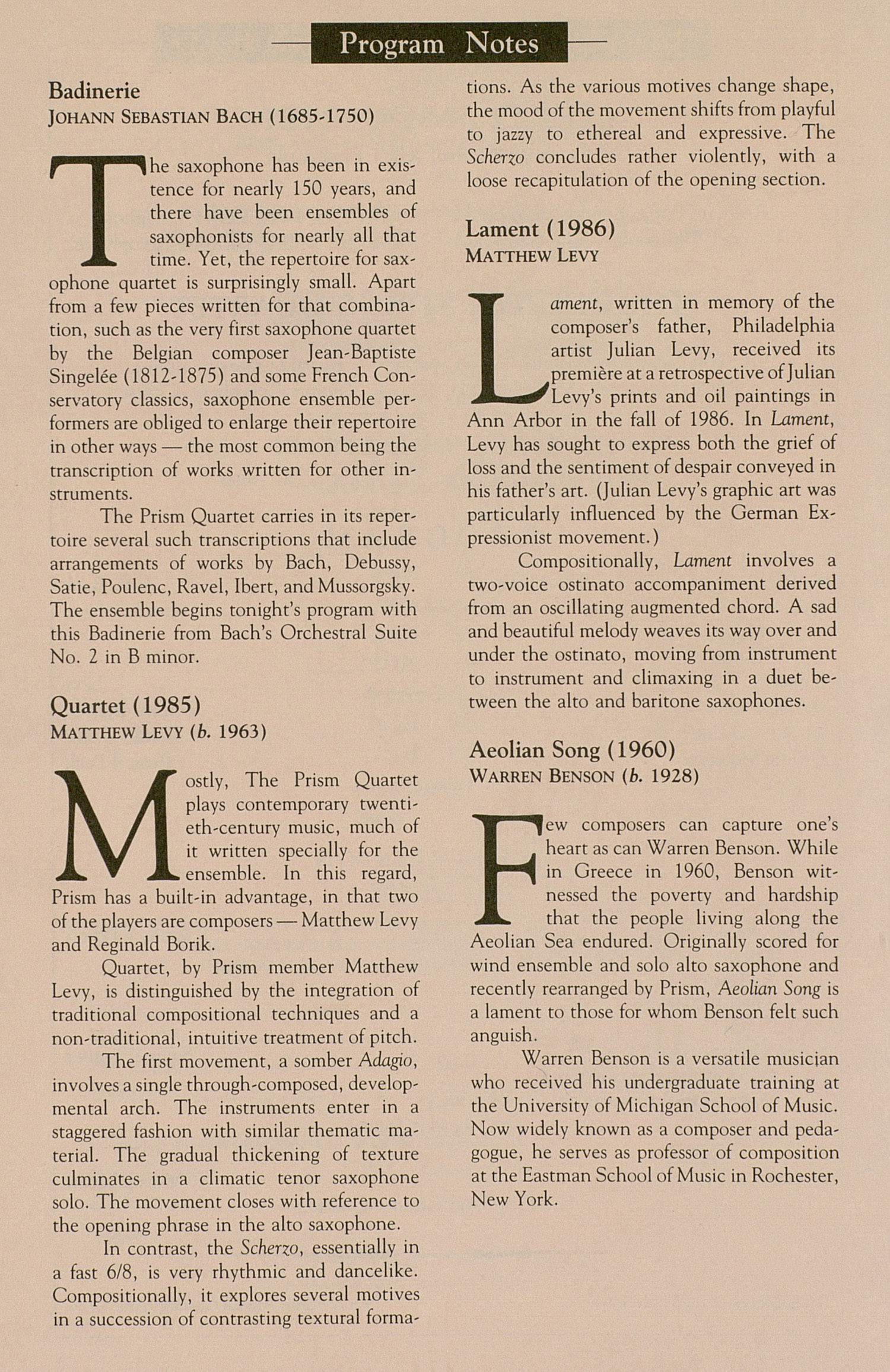 UMS Concert Program, November 14, 1990: The Prism Quartet --  image