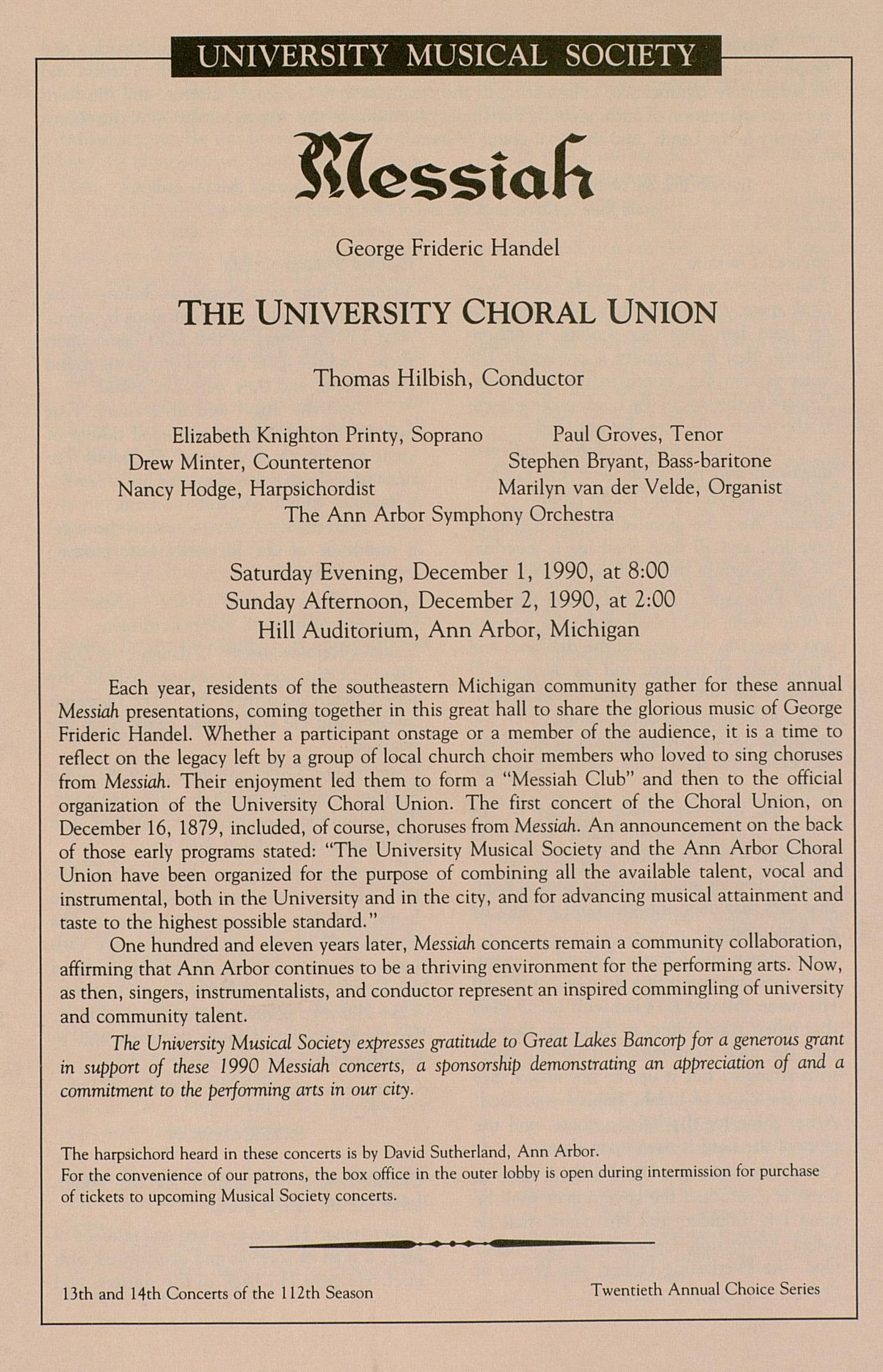 UMS Concert Program, December 1-2, 1990: Messiah -- George Frideric Handel