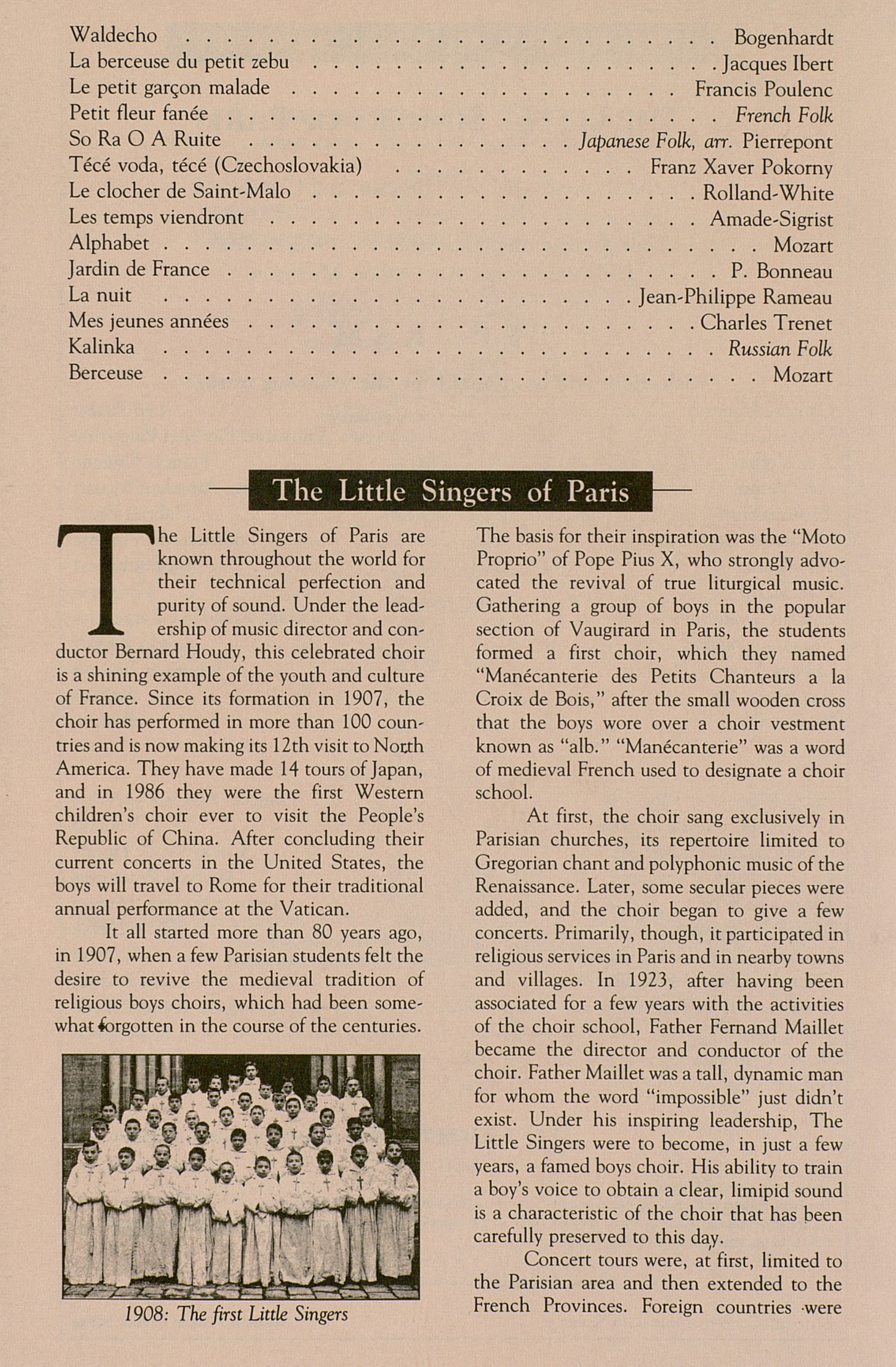 UMS Concert Program, December 13, 1990: The Little Singers Of Paris --  image