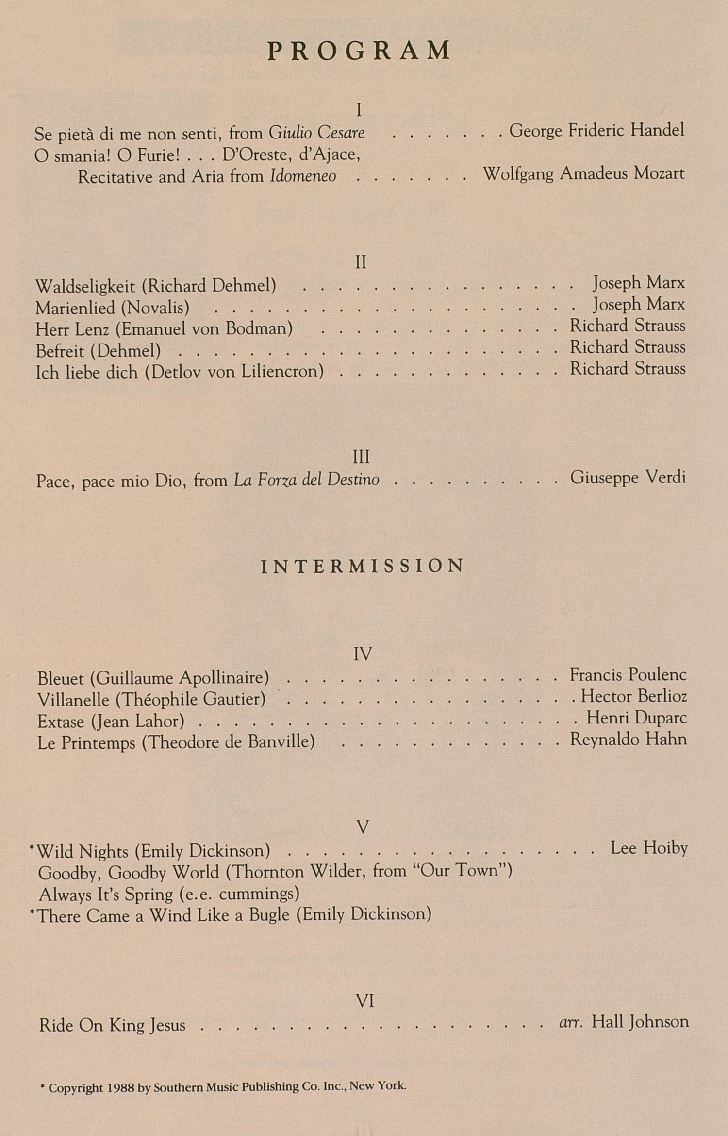 UMS Concert Program, January 14, 1991: University Musical Society --  image