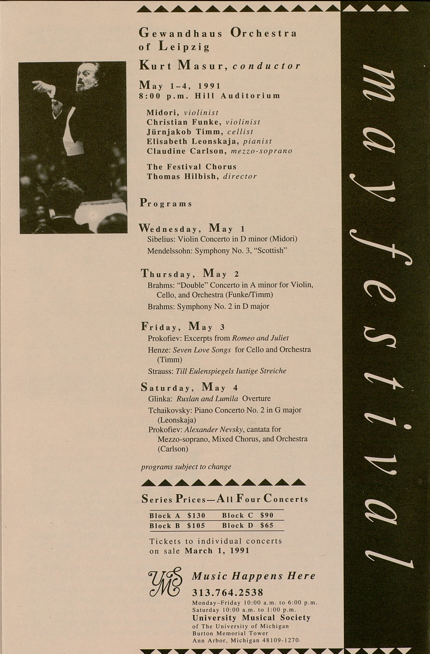 UMS Concert Program, January 30, 1991: Camerata Musica Berlin --  image