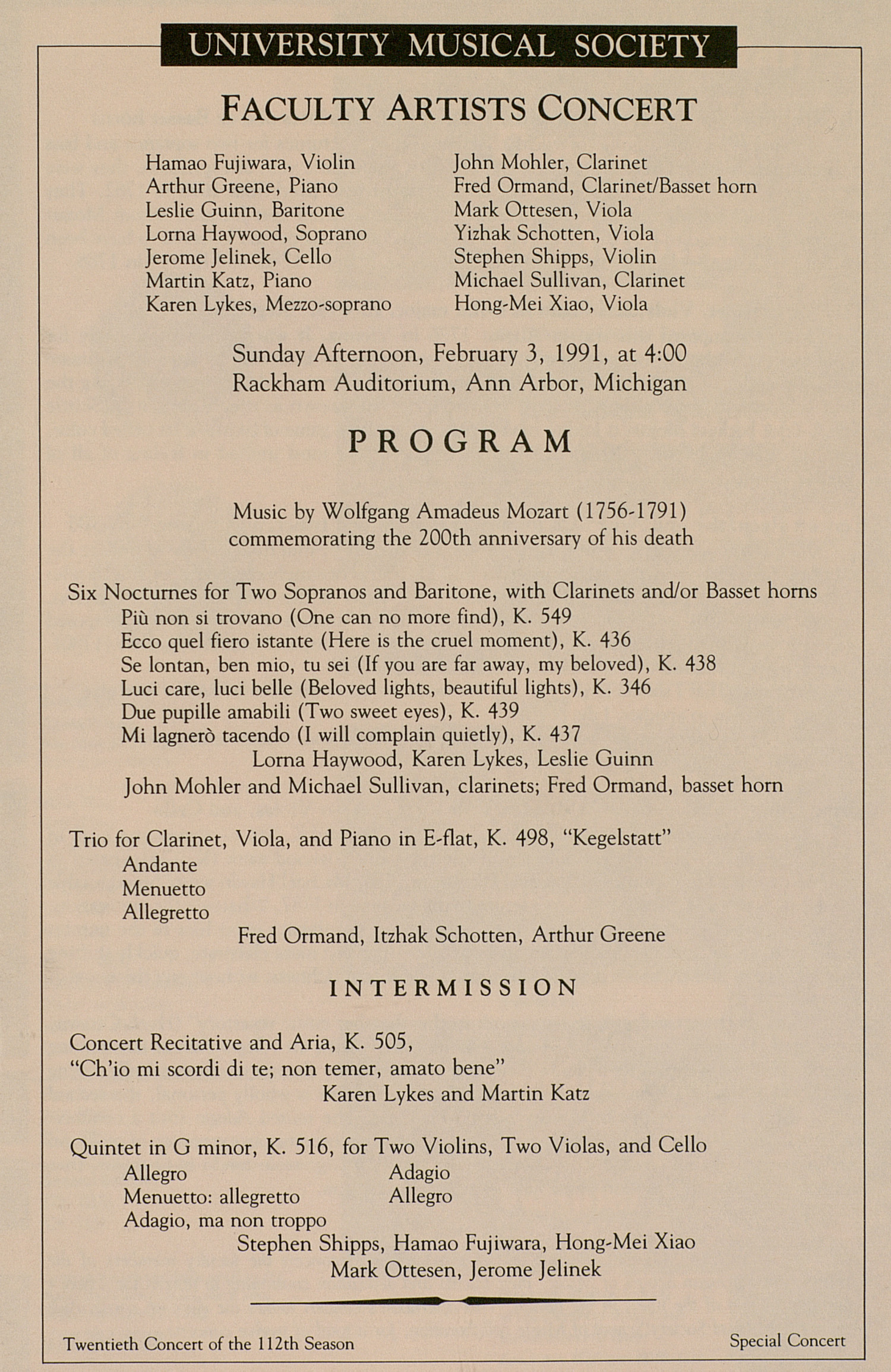 UMS Concert Program, February 3, 1991: Faculty Artists Concert --  image