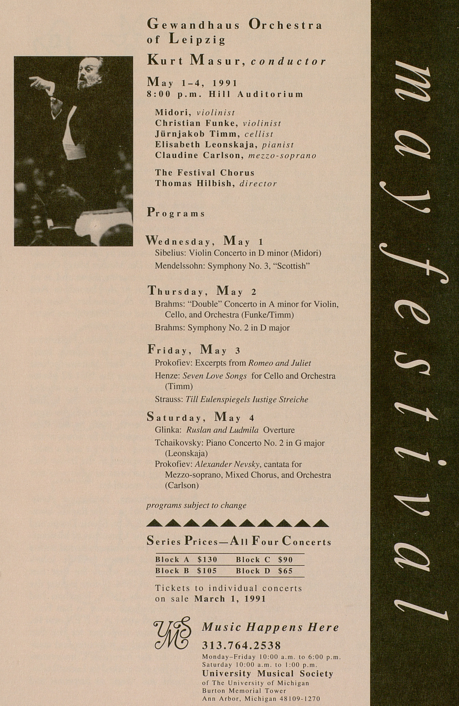 UMS Concert Program, February 20 And 21, 1991: Mummenschanz Encore --  image