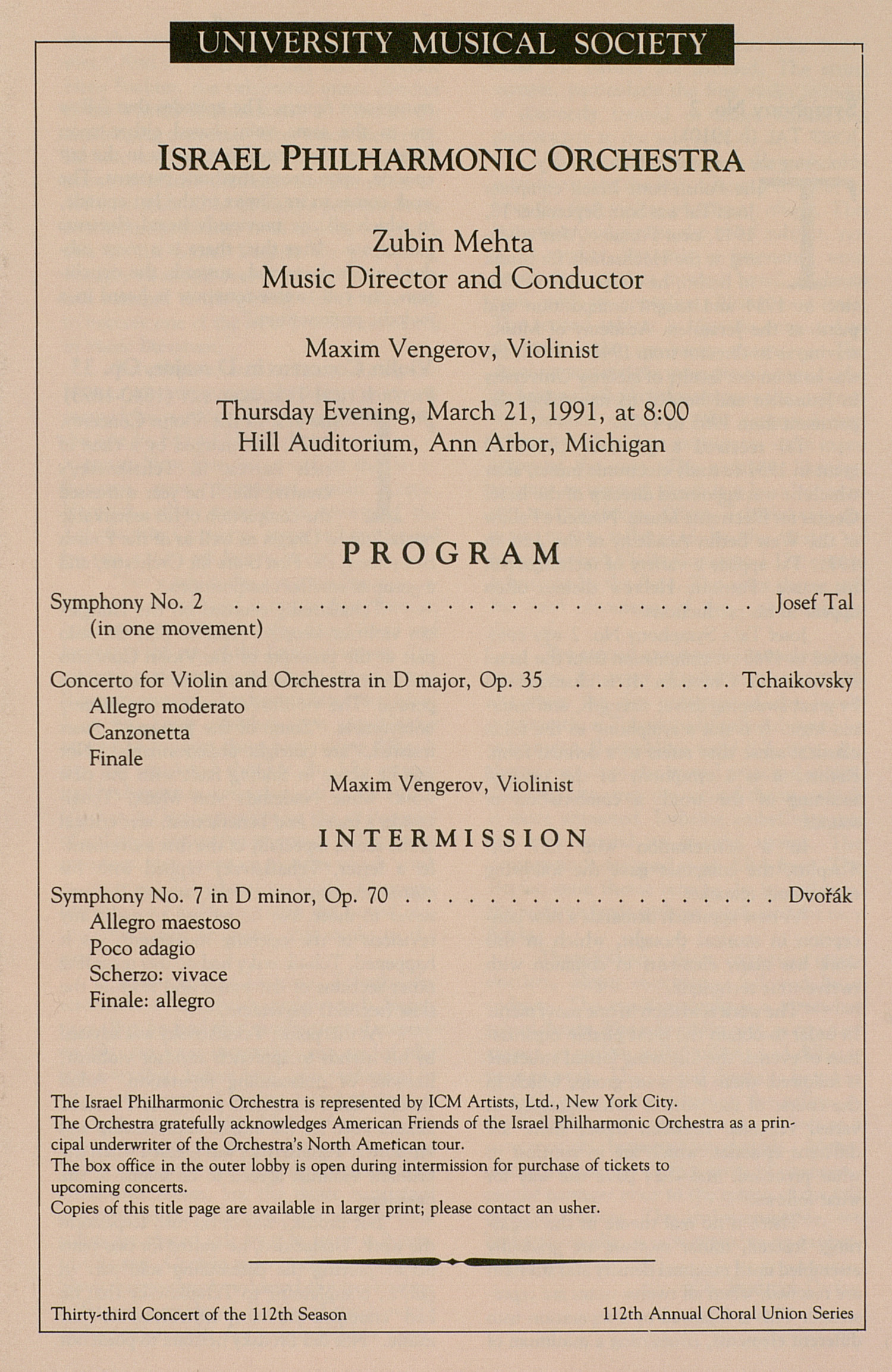 UMS Concert Program, March 21, 1991: University Musical Society -- Israel Philharmonic Orchestra image