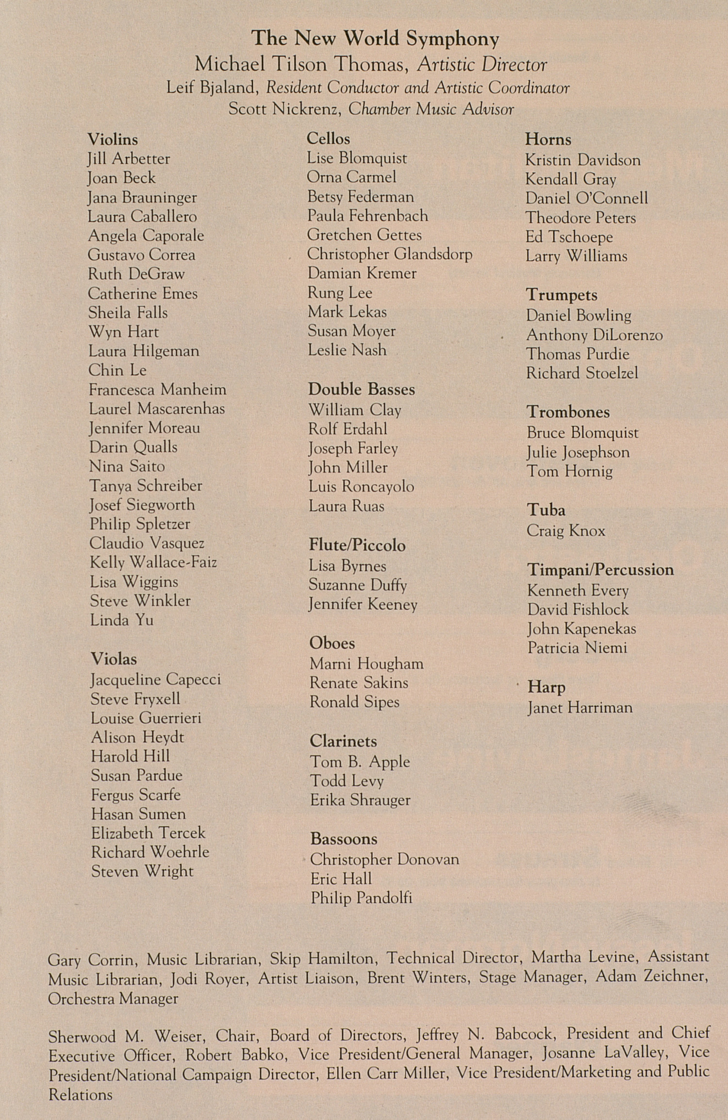 UMS Concert Program, April 3, 1991: The New World Symphony -- America's National Training Orchestra image