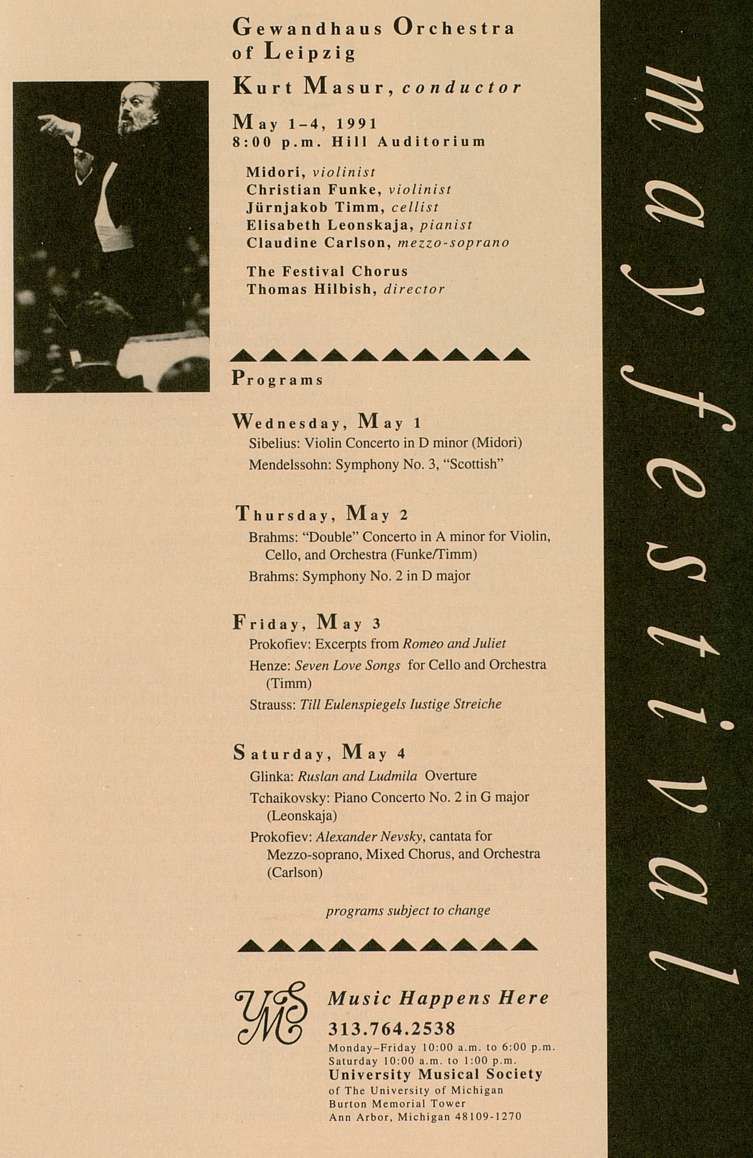 UMS Concert Program, April 20, 1991: University Musical Society -- Butch Thompson And The Butch Thompson Trio image