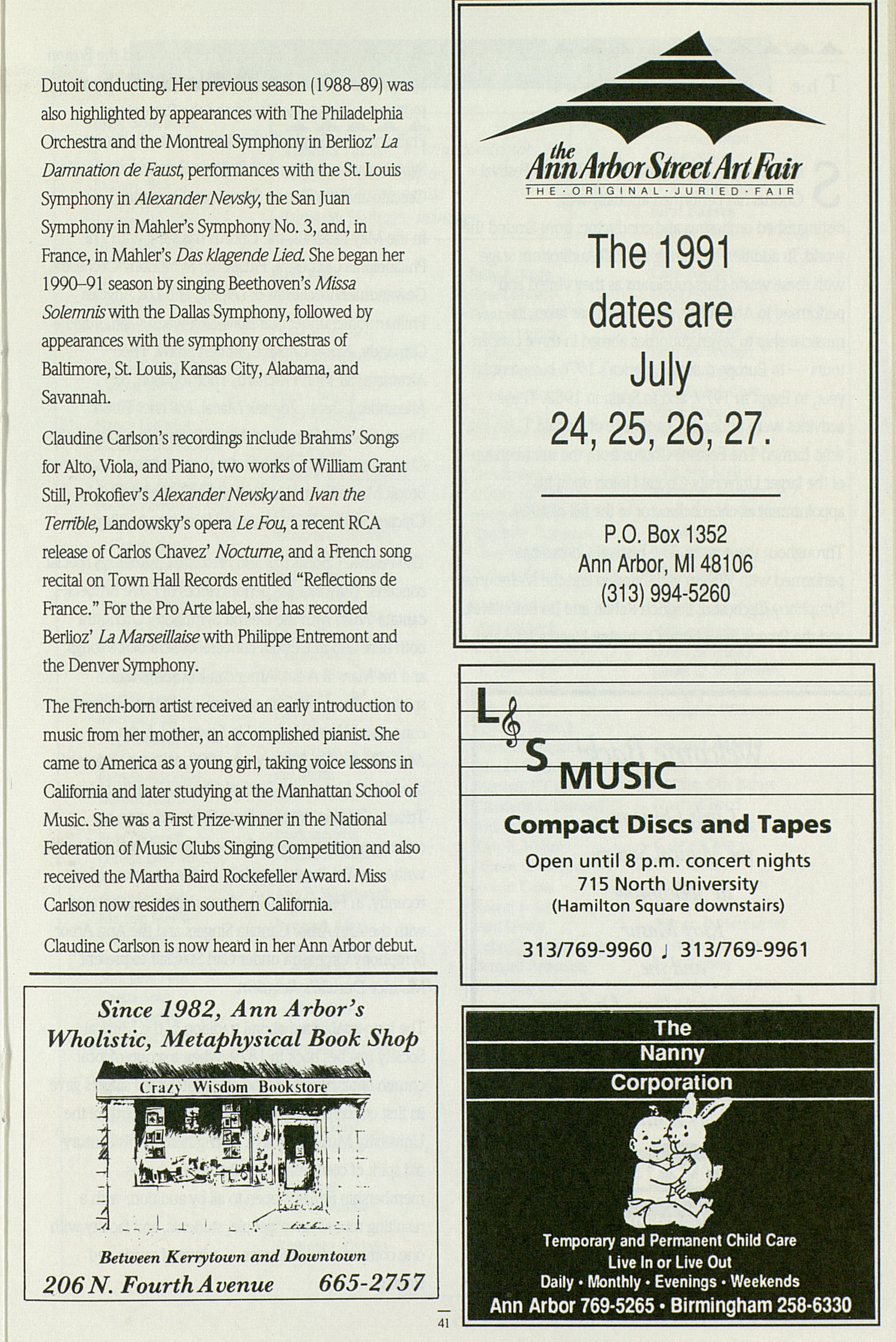 UMS Concert Program, May 14, 1991: May Festival --  image