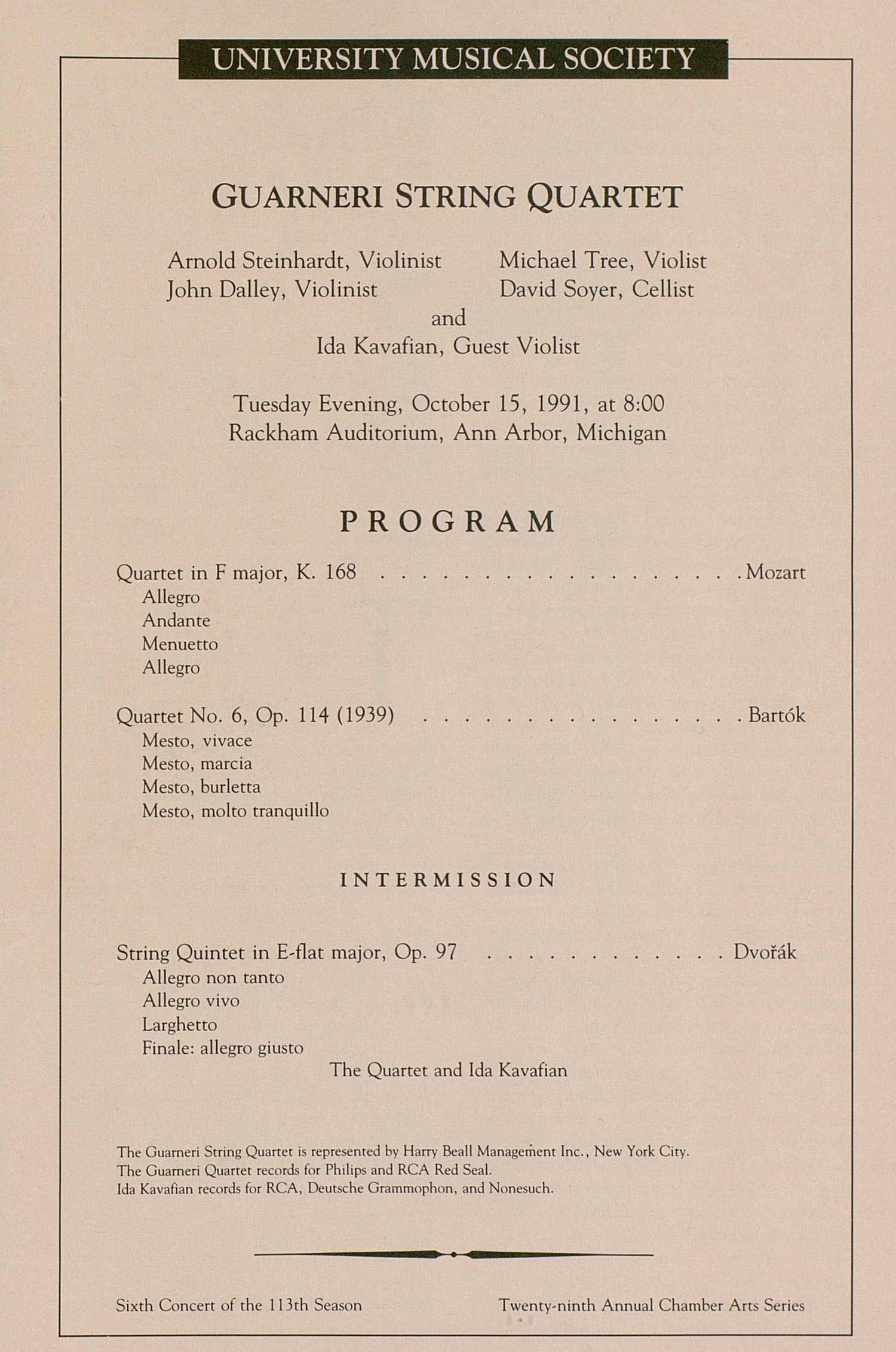 UMS Concert Program, October 15, 1991: Guarneri String Quartet --  image