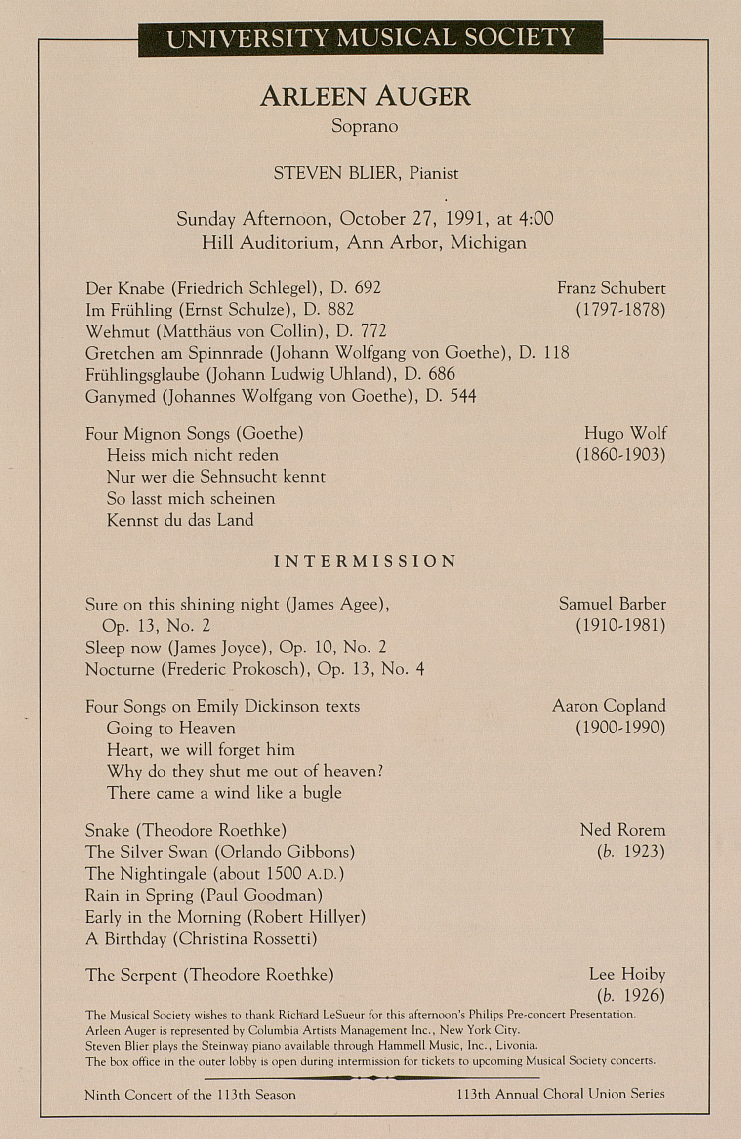 UMS Concert Program, October 27, 1991: University Musical Society --  image