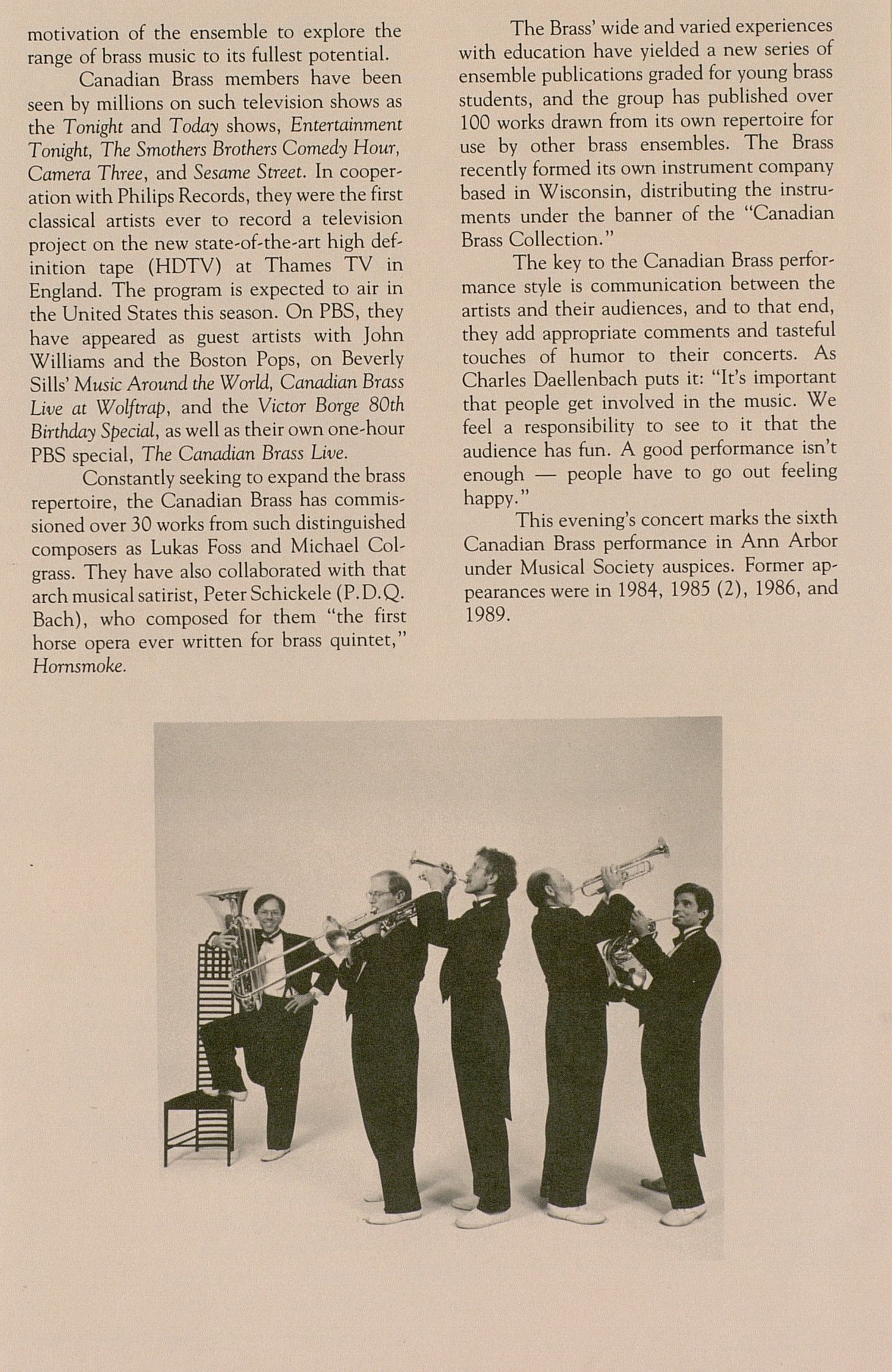UMS Concert Program, November 9, 1991: The Canadian Brass --  image