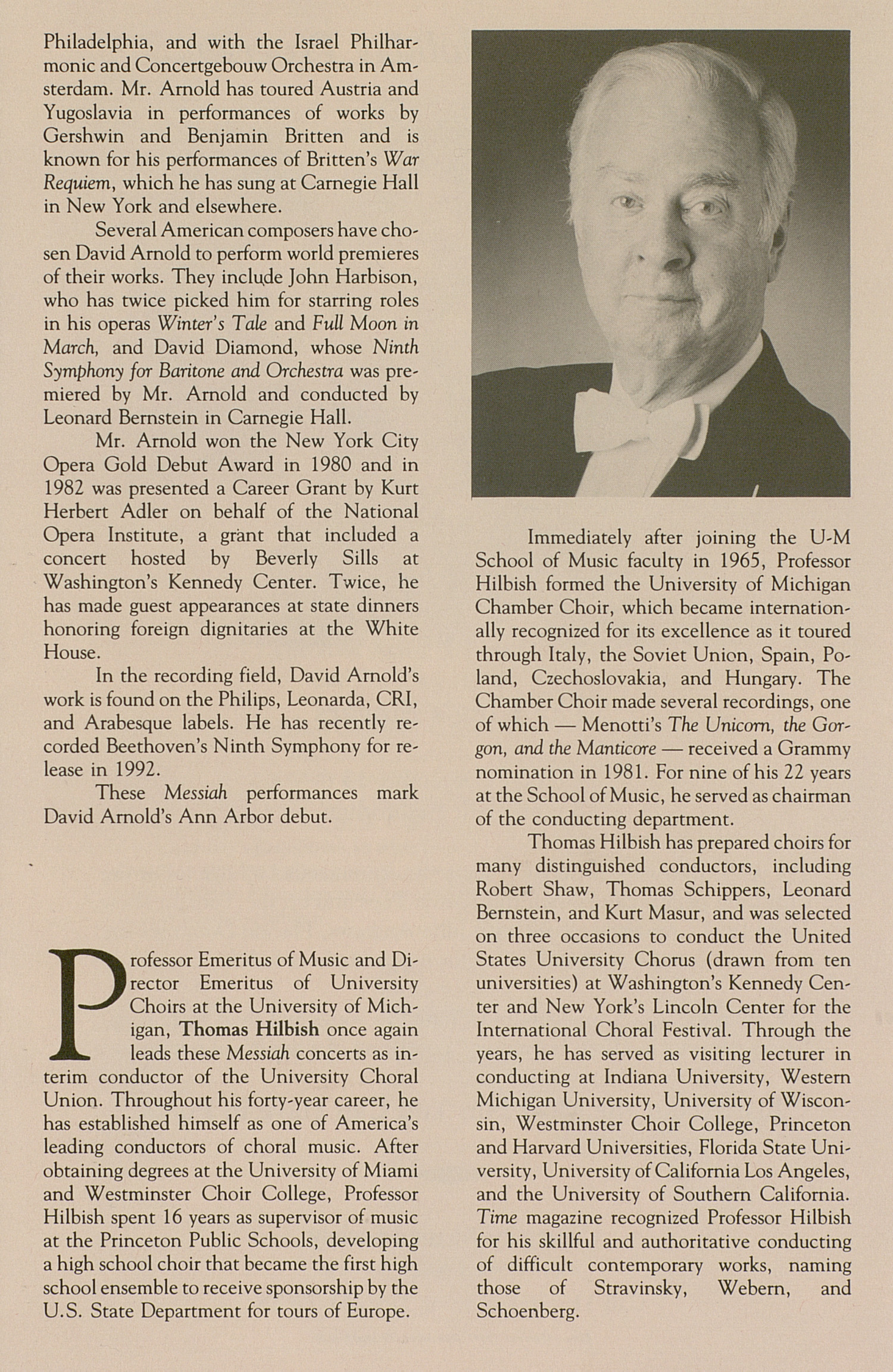 UMS Concert Program, December 7-8, 1991: Messiah -- George Frideric Handel image