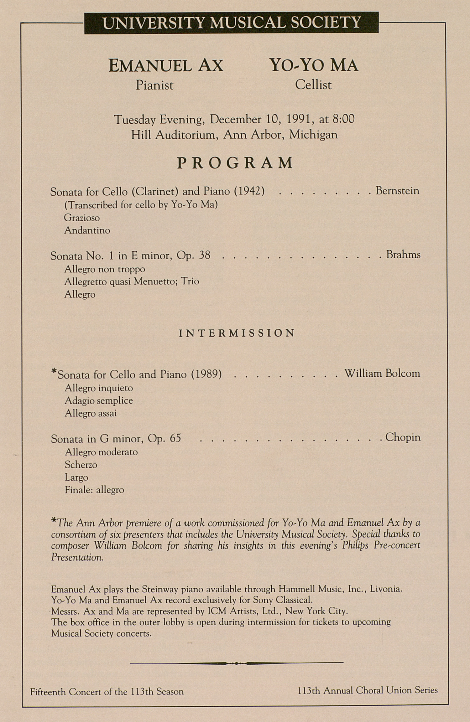 UMS Concert Program, December 10, 1991: University Musical Society --  image