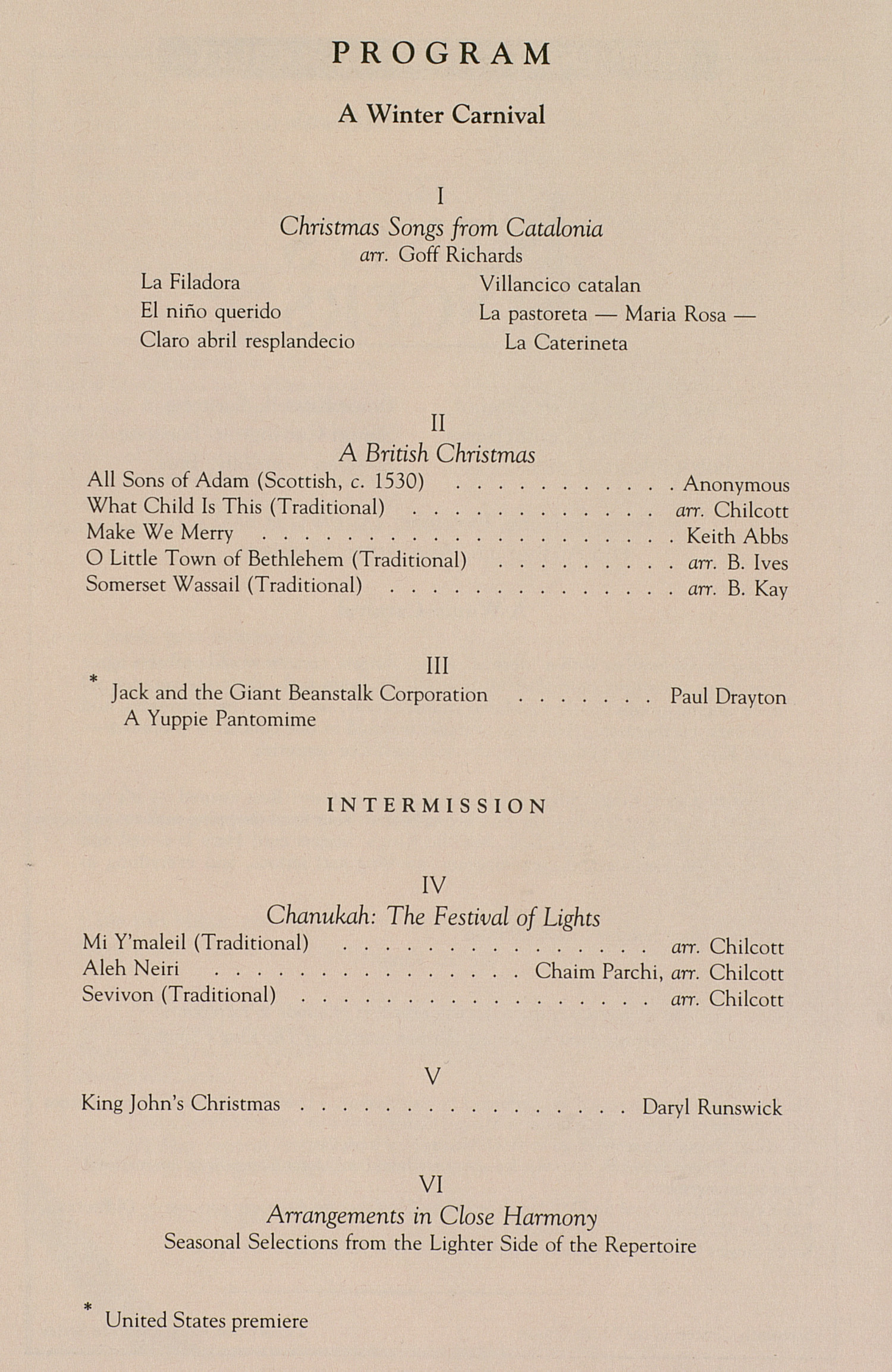 UMS Concert Program, December 13, 1991: The King's Singers --  image