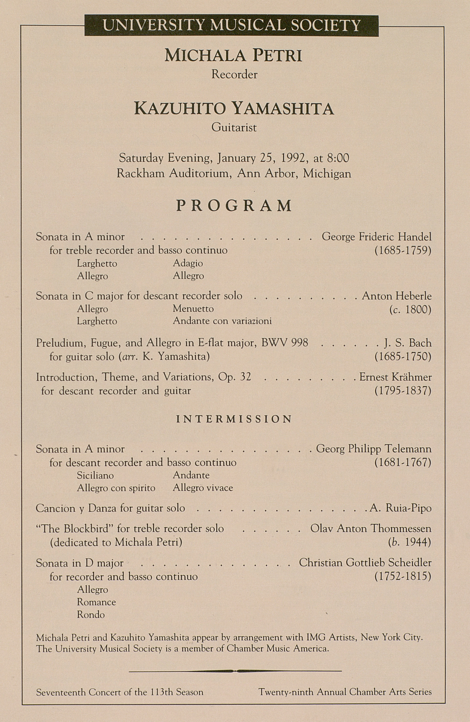 UMS Concert Program, January 25, 1992: University Musical Society --  image
