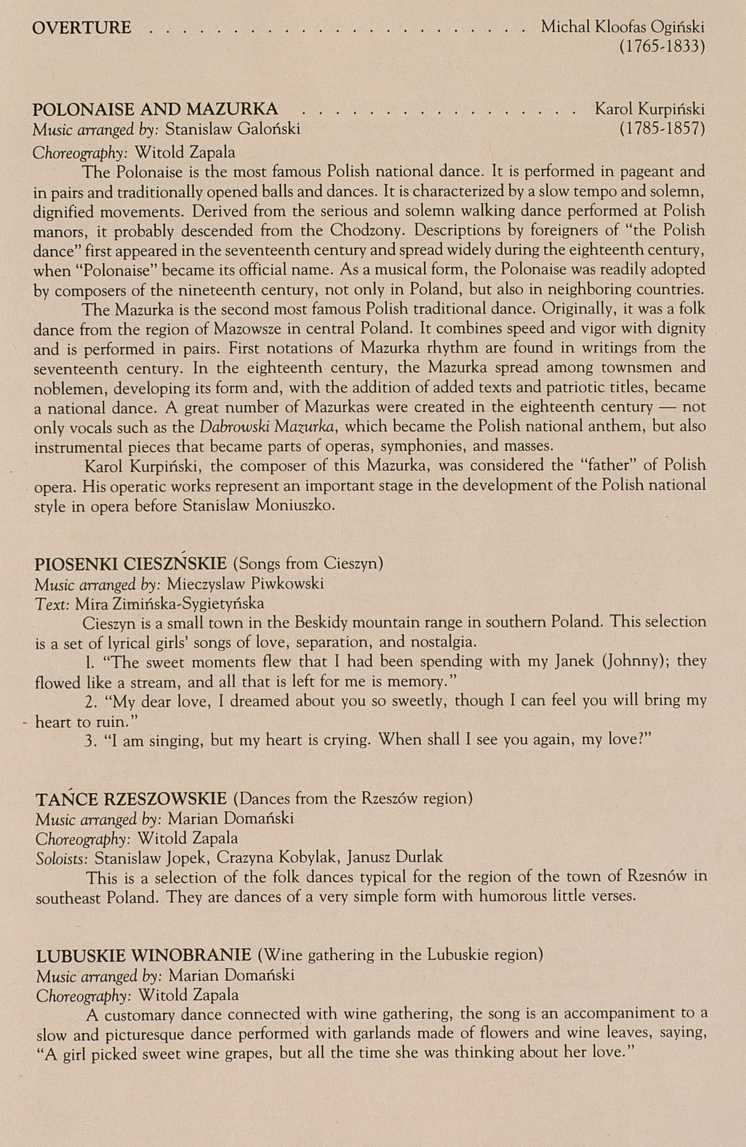 UMS Concert Program, February 1-2, 1992: The Magnificent Mazowsze --  image