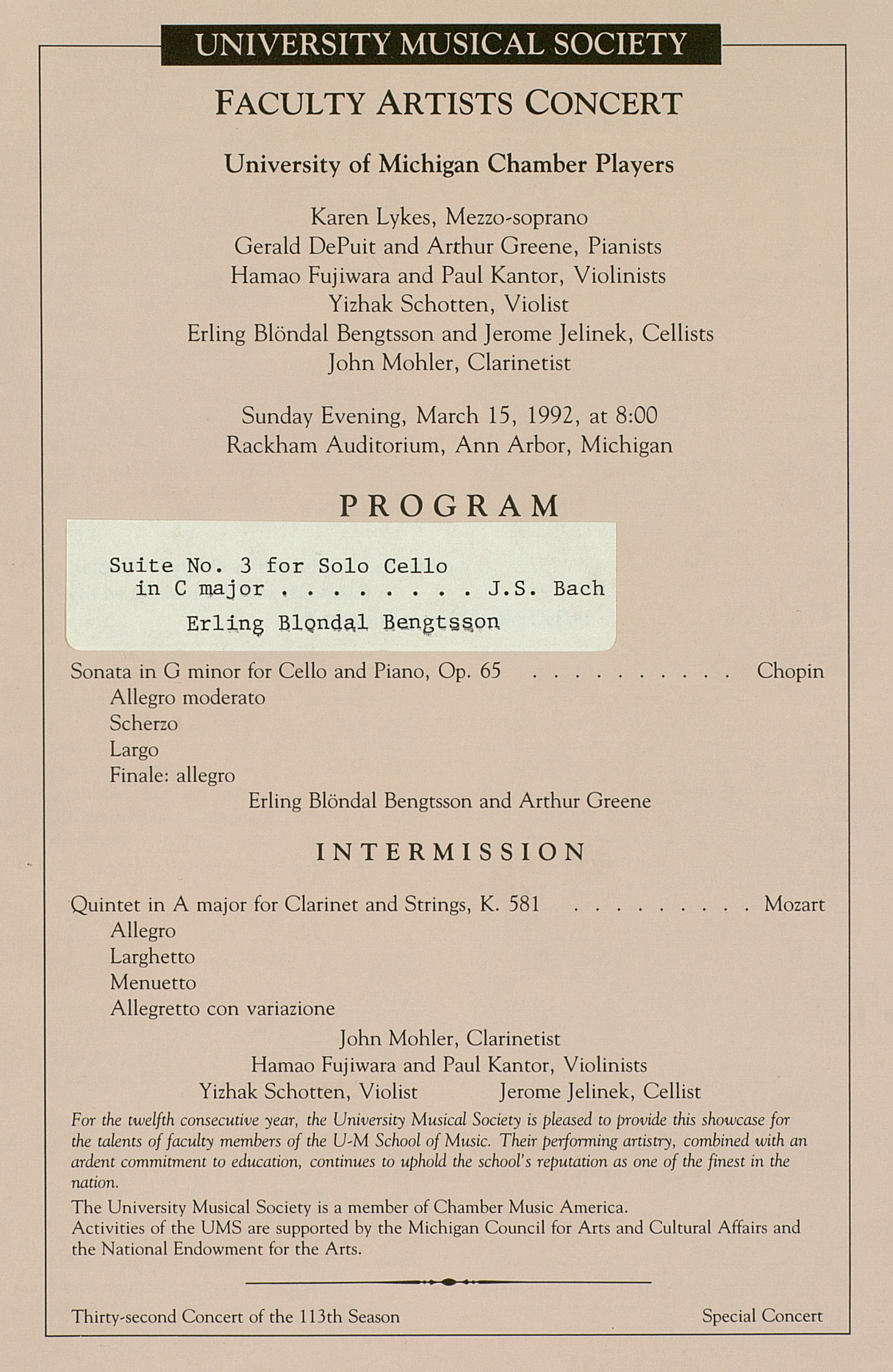 UMS Concert Program, March 15, 1992: Faculty Artists Concert --  image