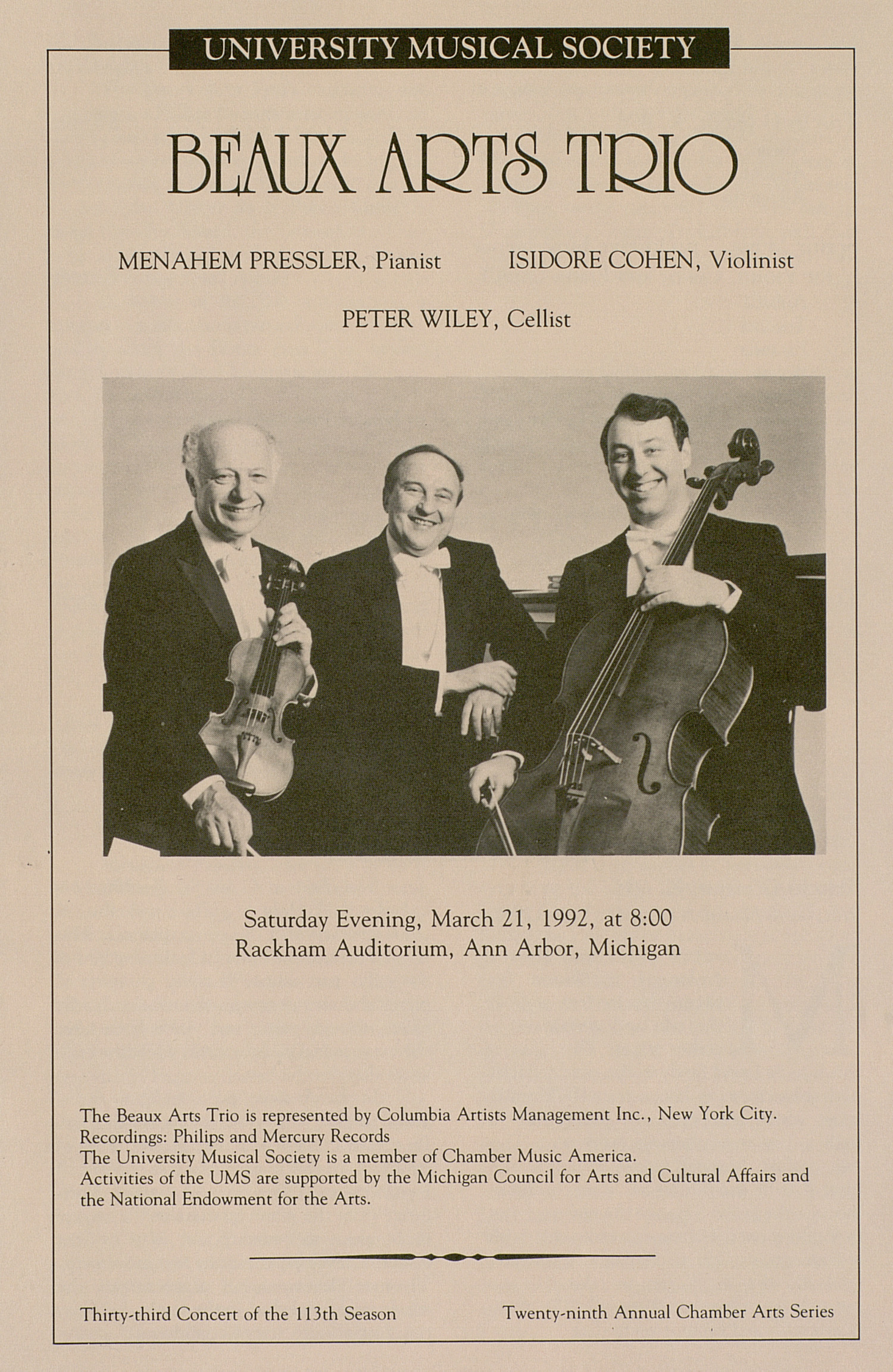 UMS Concert Program, March 21, 1992: Beaux Arts Trio --  image