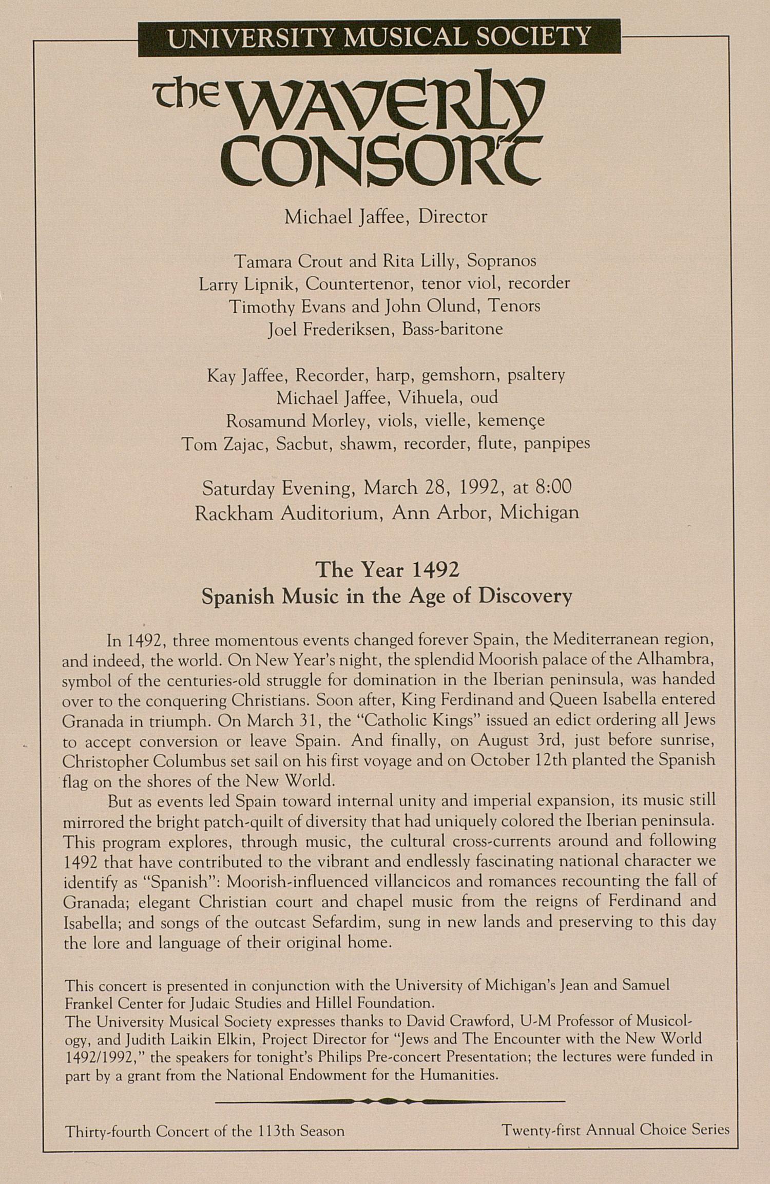 UMS Concert Program, March 28, 1992: The Waverly Consort --  image