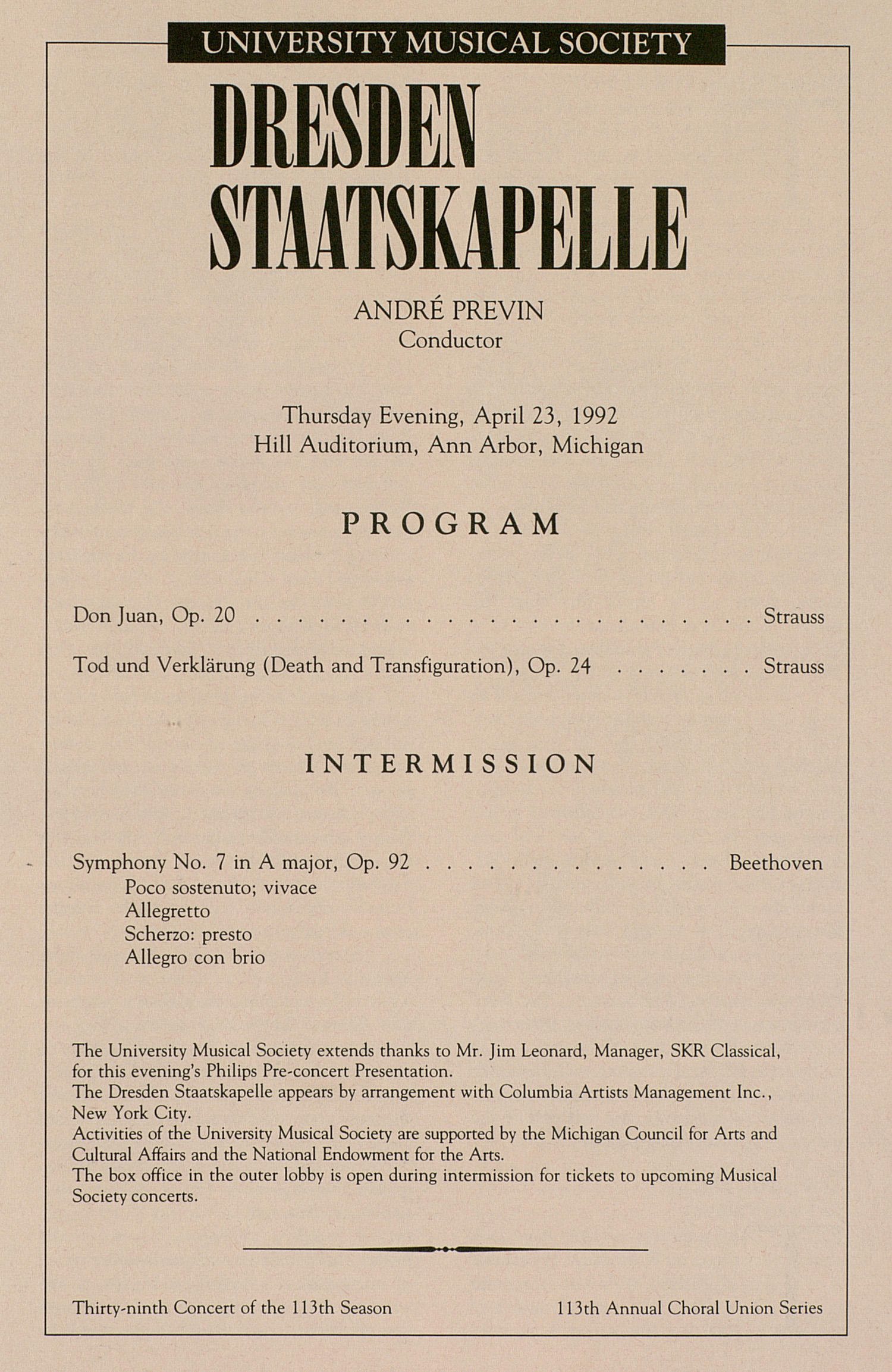 UMS Concert Program, April 23, 1992: Dresden Staatskapelle --  image