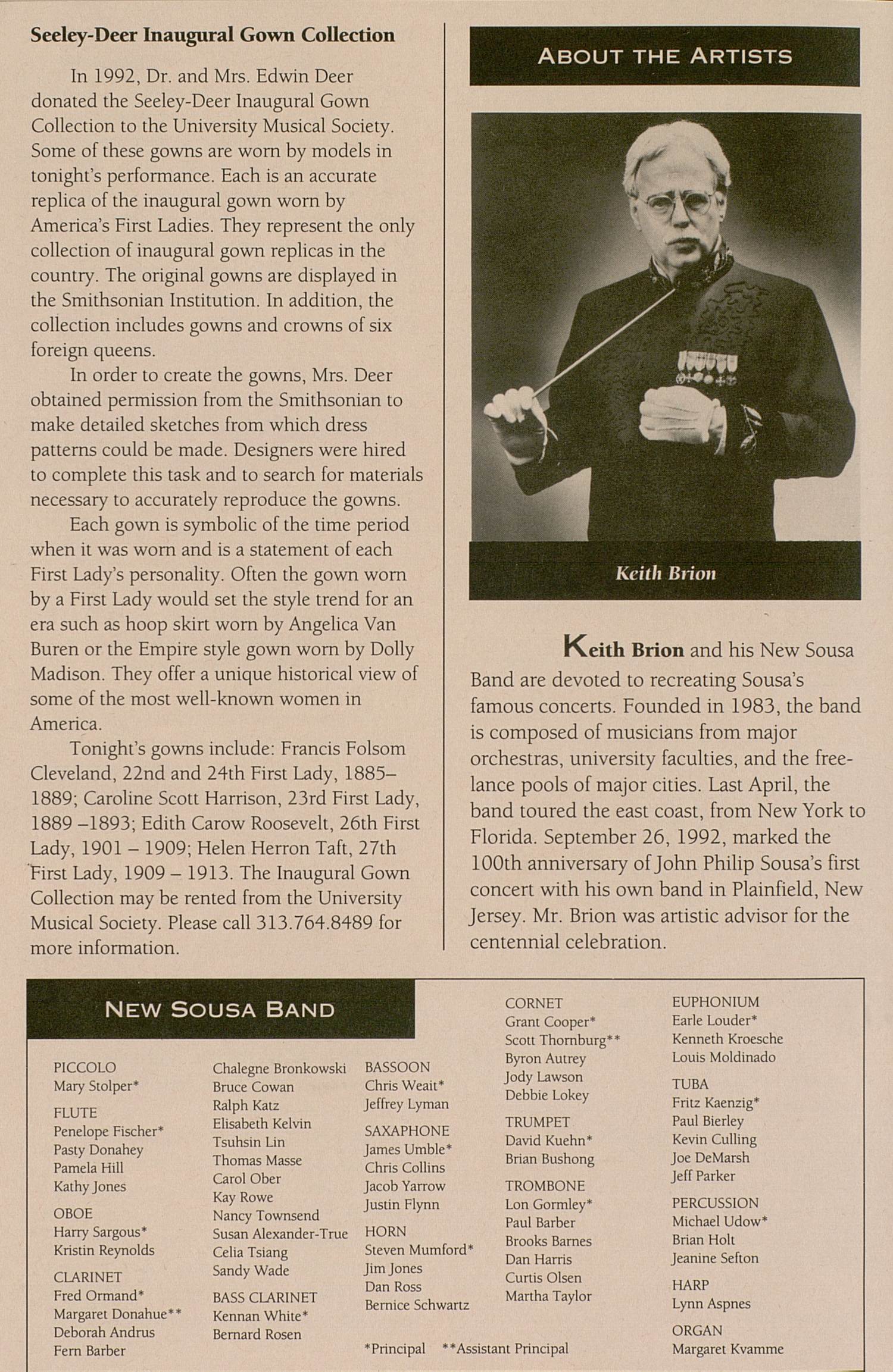 UMS Concert Program, October 10, 1992: Keith Brion And His New Sousa Band --  image