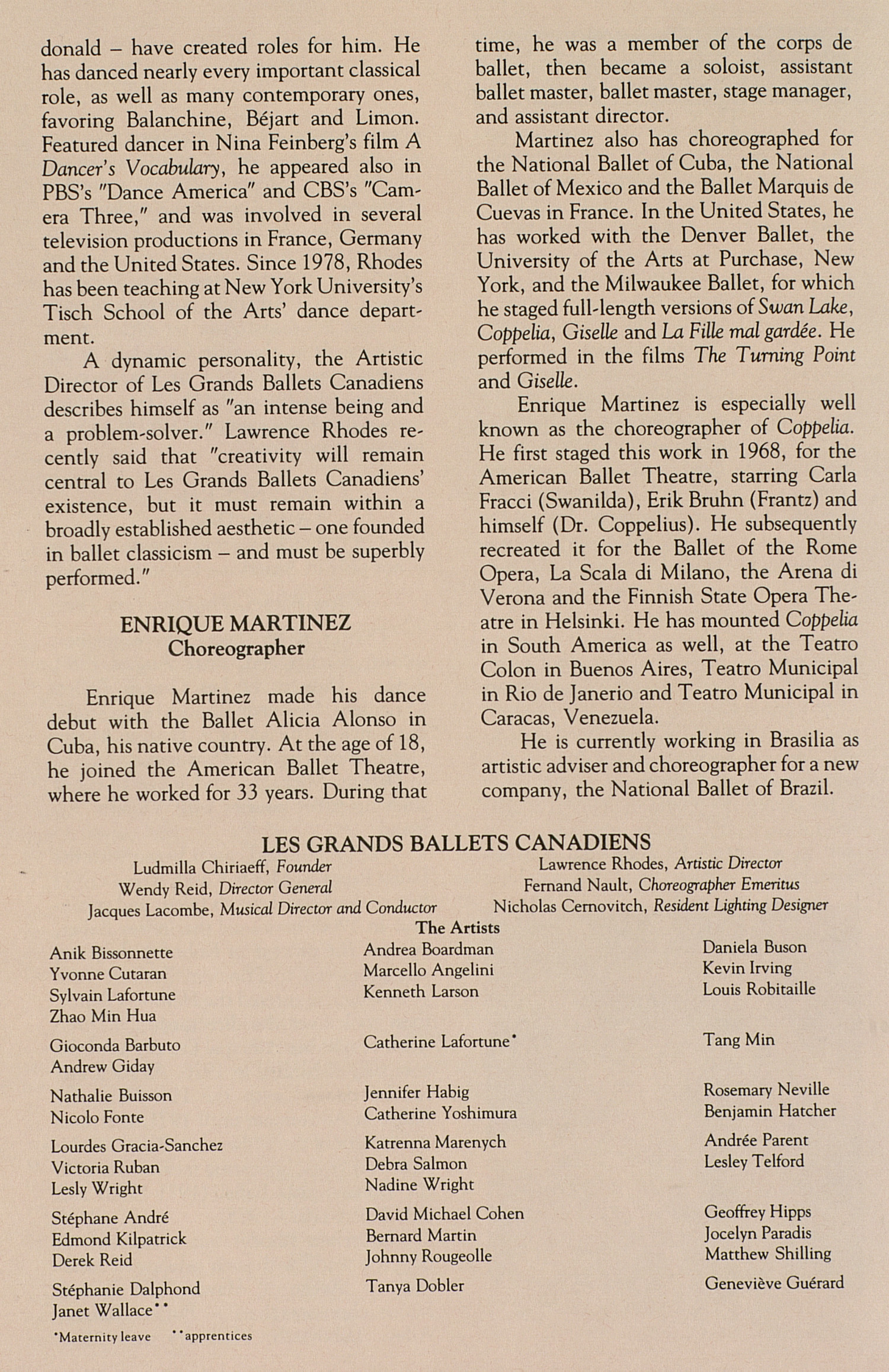 UMS Concert Program, October 17-18, 1992: Les Grands Ballets Canadiens --  image