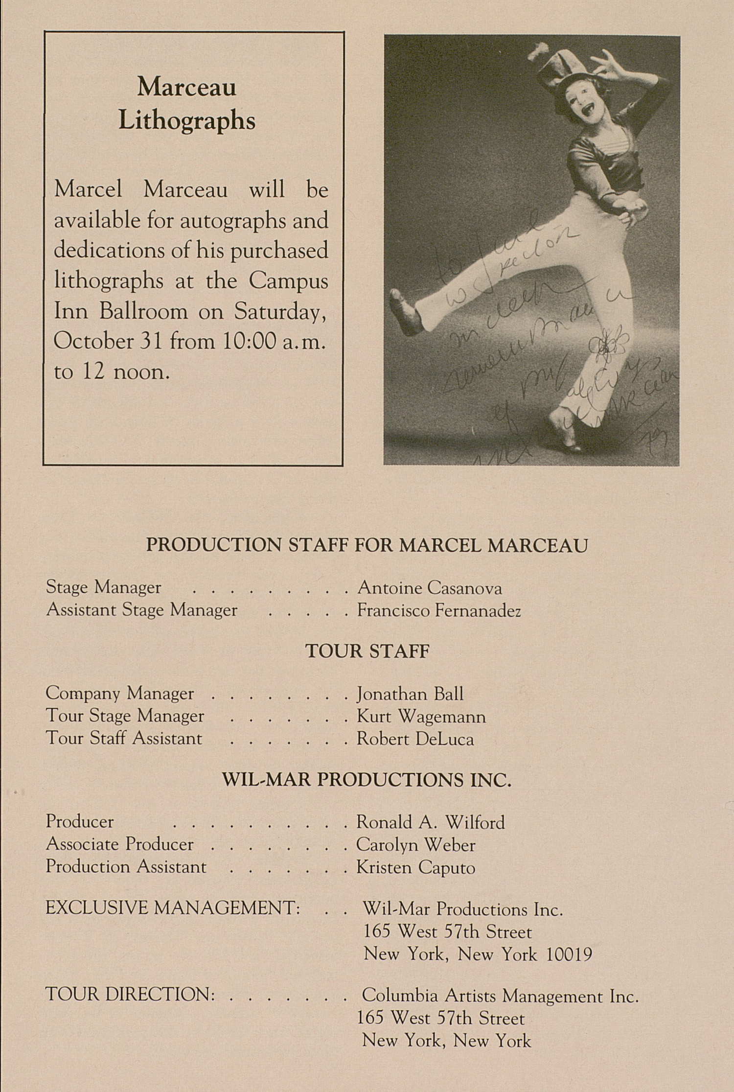 UMS Concert Program, October 30, 1992: University Musical Society -- Marcel Marceau image