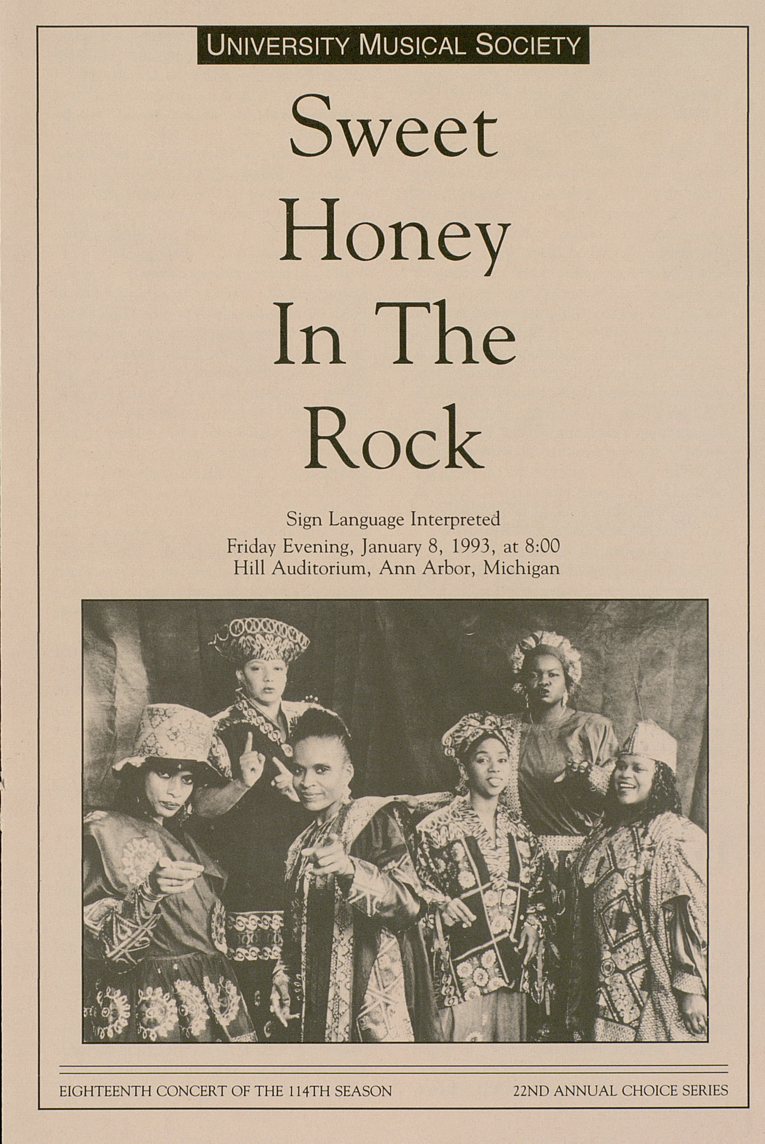 UMS Concert Program, January 8, 1993: Sweet Honey In The Rock --  image