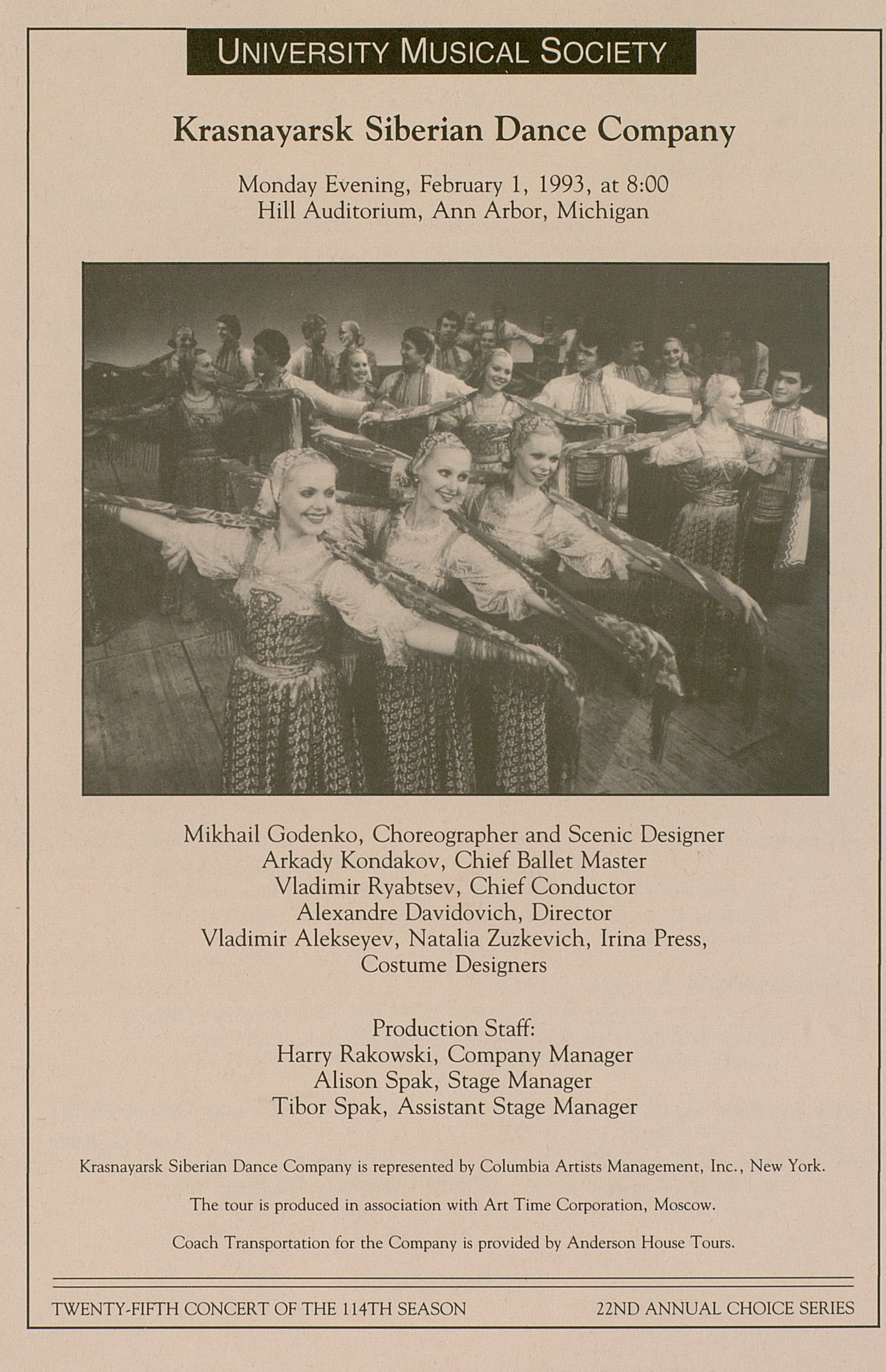 UMS Concert Program, February 1, 1993: University Musical Society -- Krasnayarsk Siberian Dance Company image