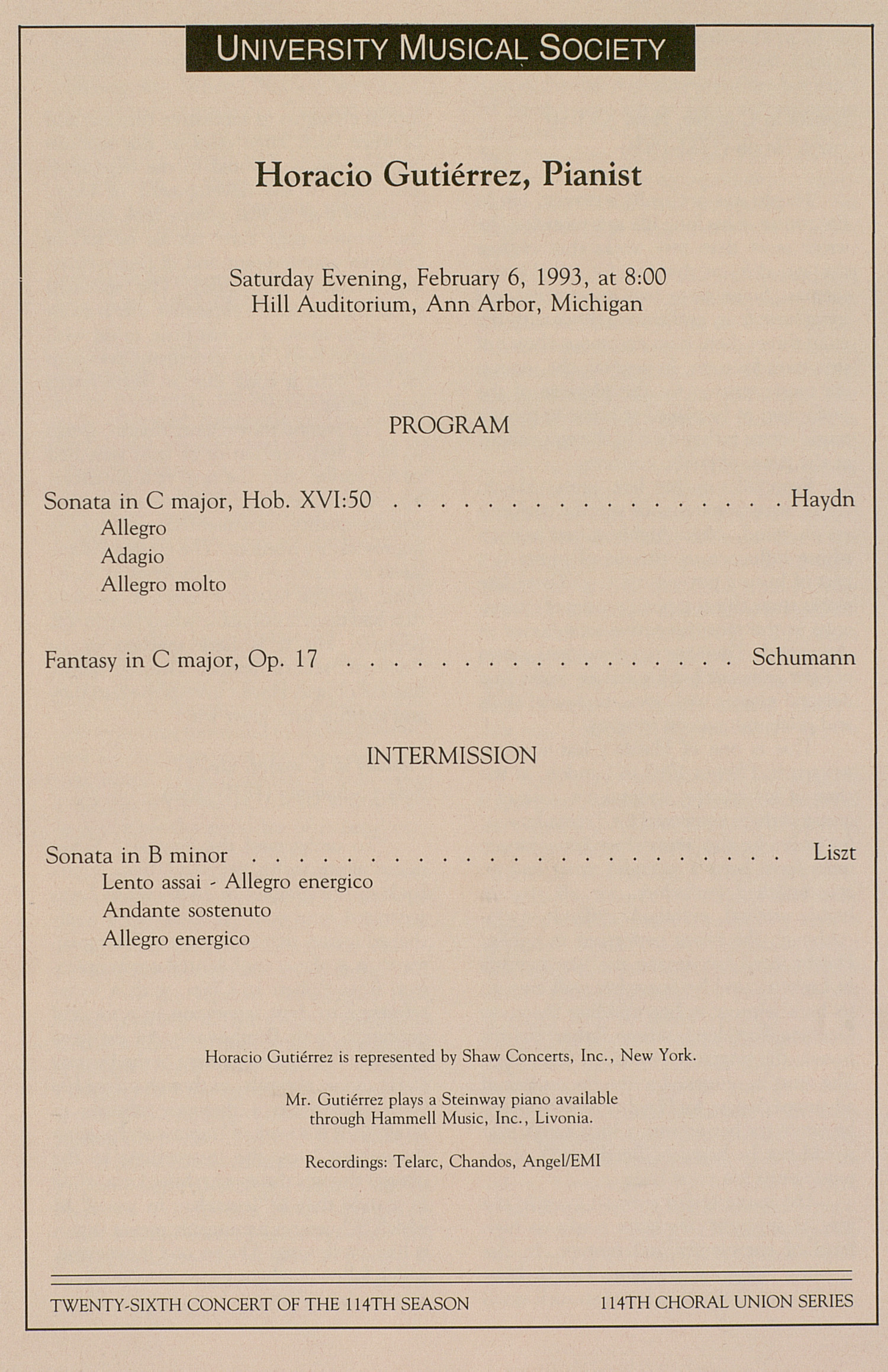 UMS Concert Program, February 6, 1993: University Musical Society --  image