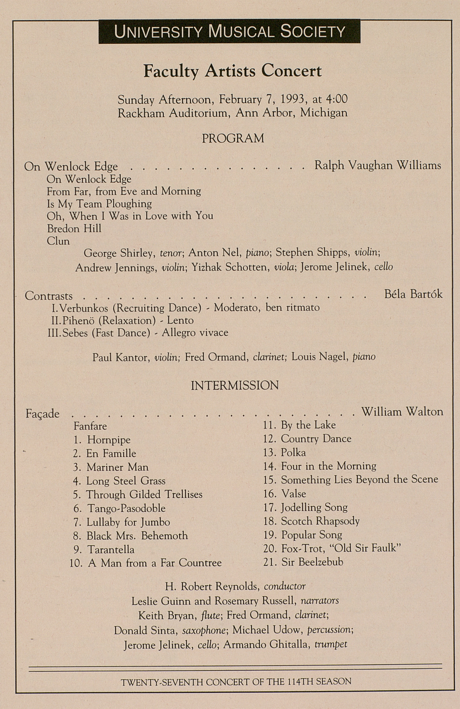UMS Concert Program, February 7, 1993: Faculty Artists Concert --  image