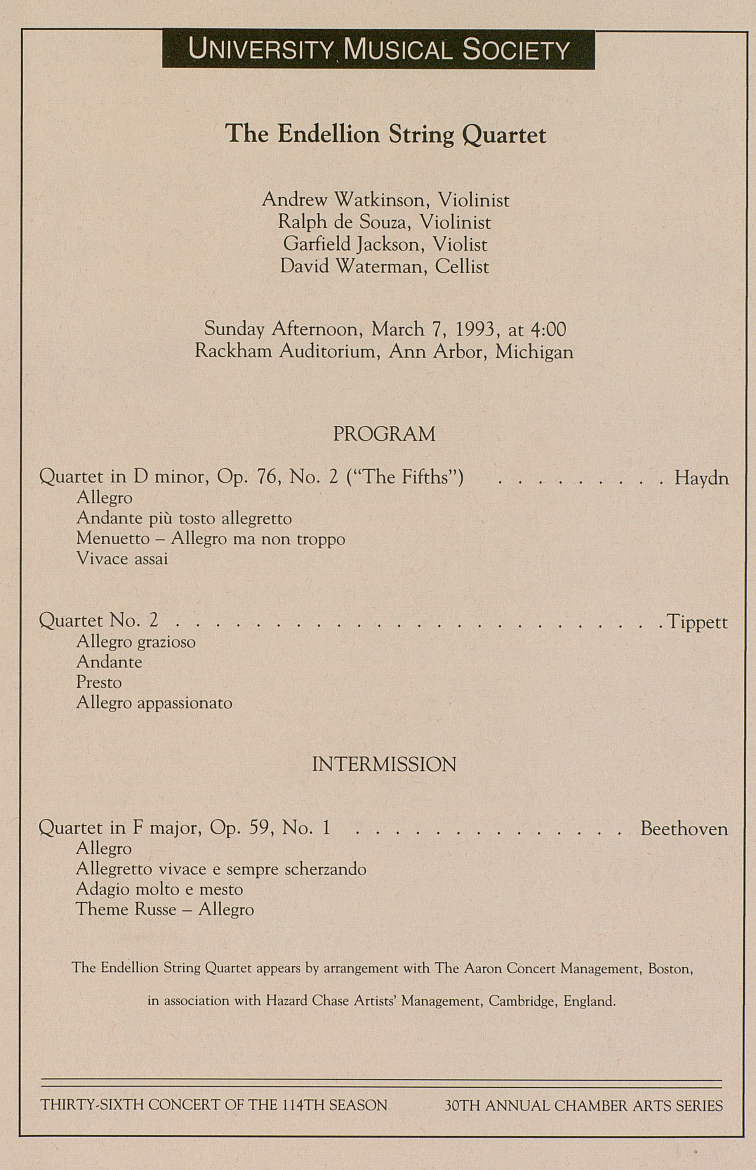 UMS Concert Program, March 7, 1993: The Endellion String Quartet --  image