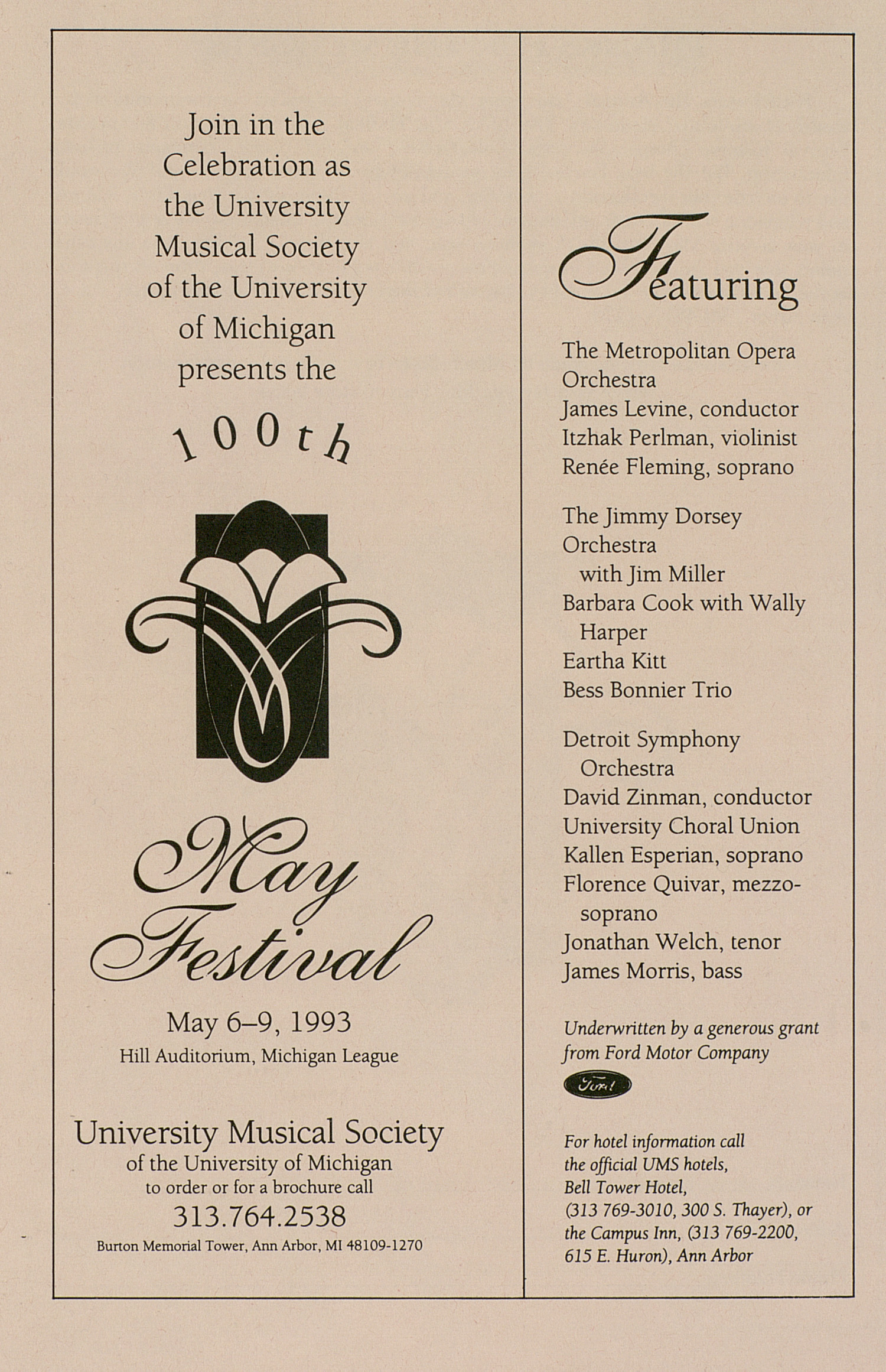 UMS Concert Program, March 14, 1993: University Musical Society -- The Orchestra Of St. Luke's image