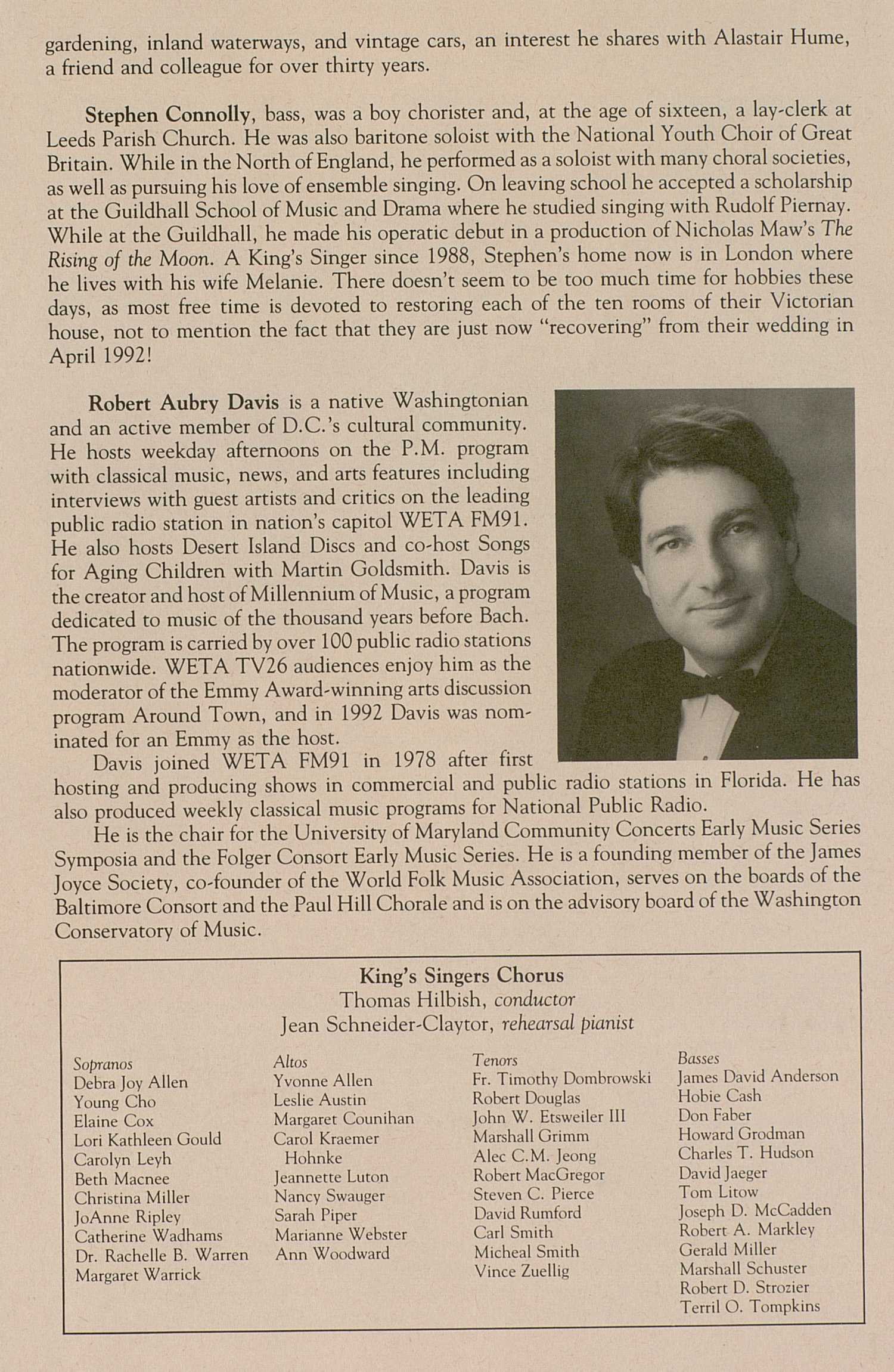UMS Concert Program, May 2, 1993: The King's Singers --  image