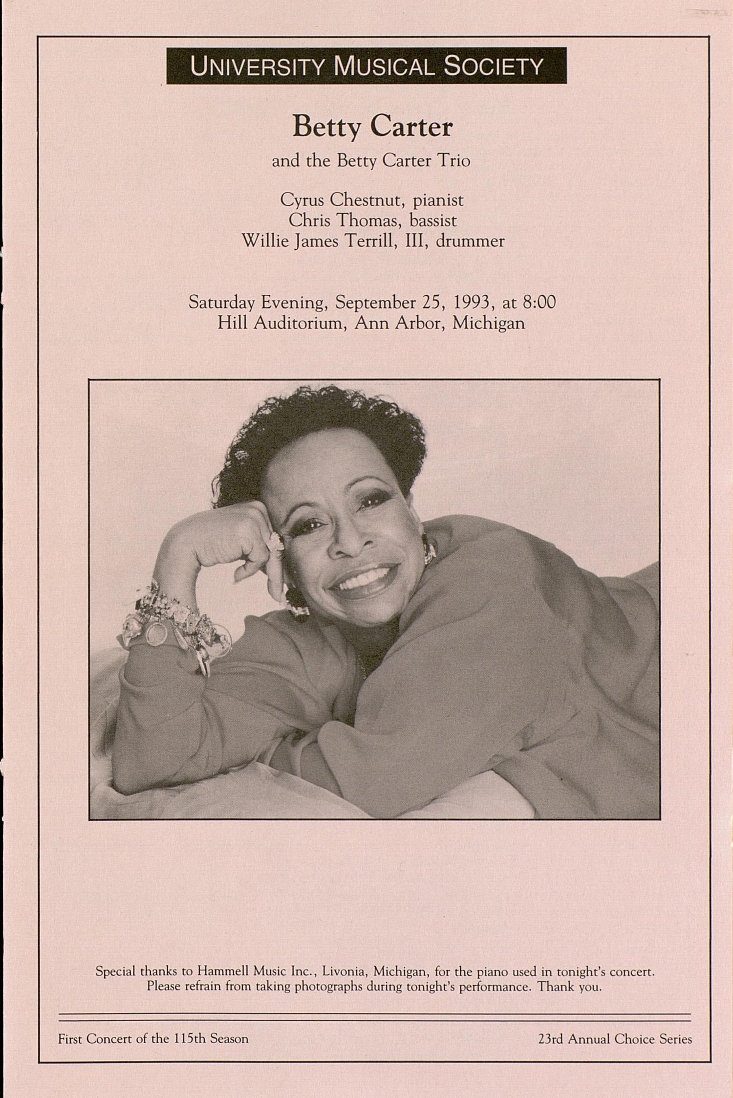 UMS Concert Program, September 25, 1993: Betty Carter --  image