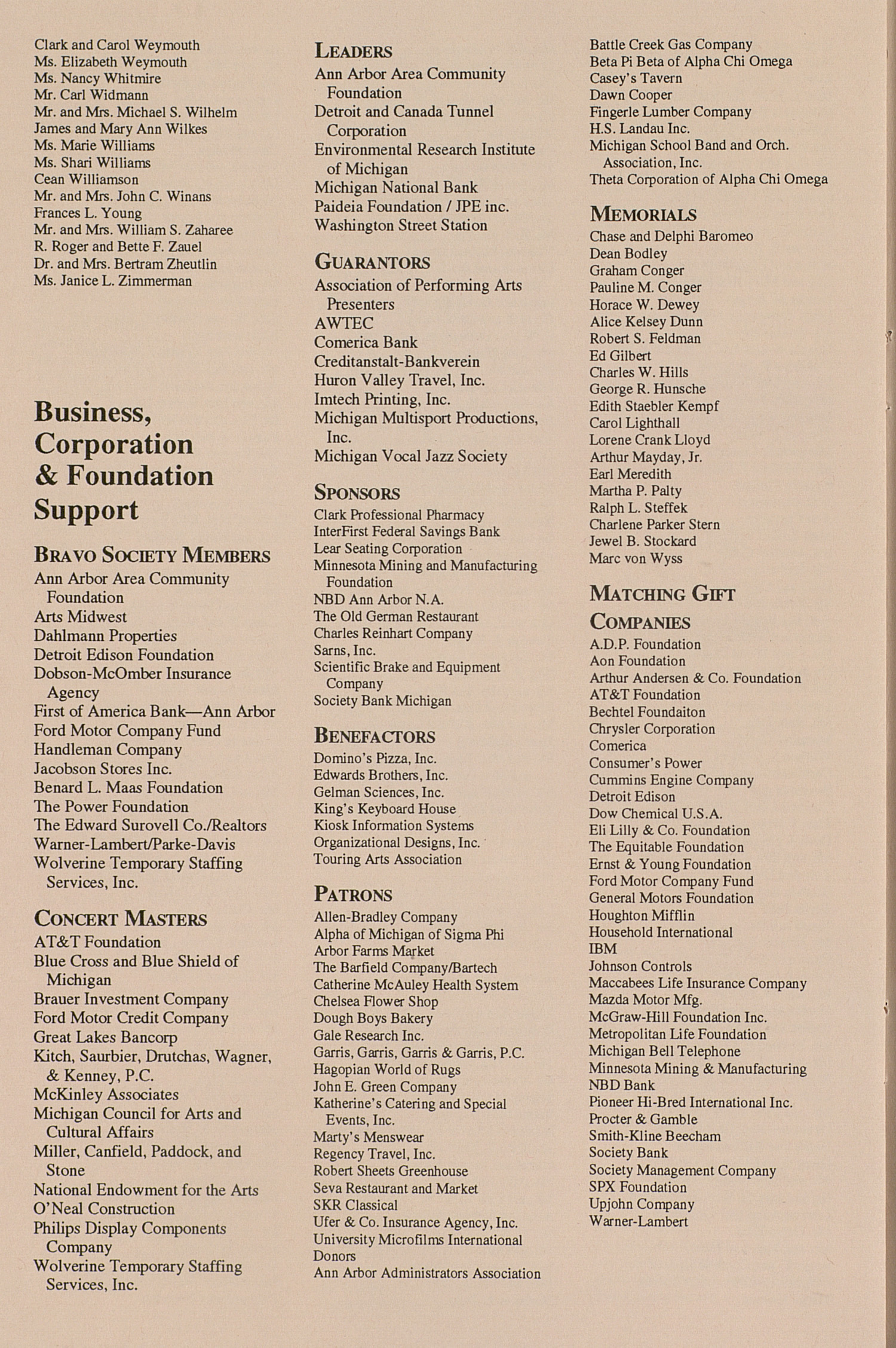 UMS Concert Program, September 29, 1993: University Musical Society --  image