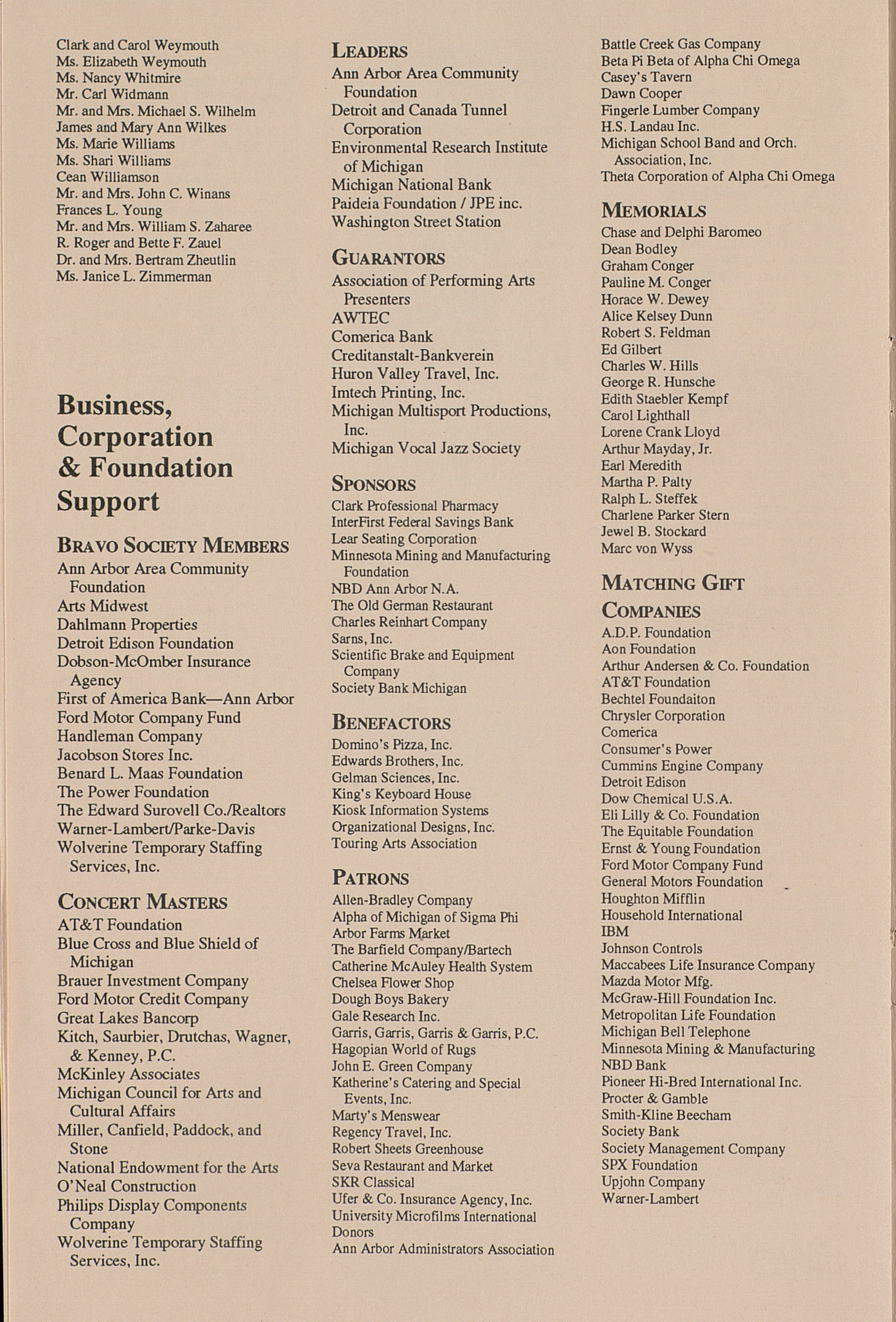 UMS Concert Program, October 9, 1993: Andre Watts In An Evening Of Chamber Music --  image