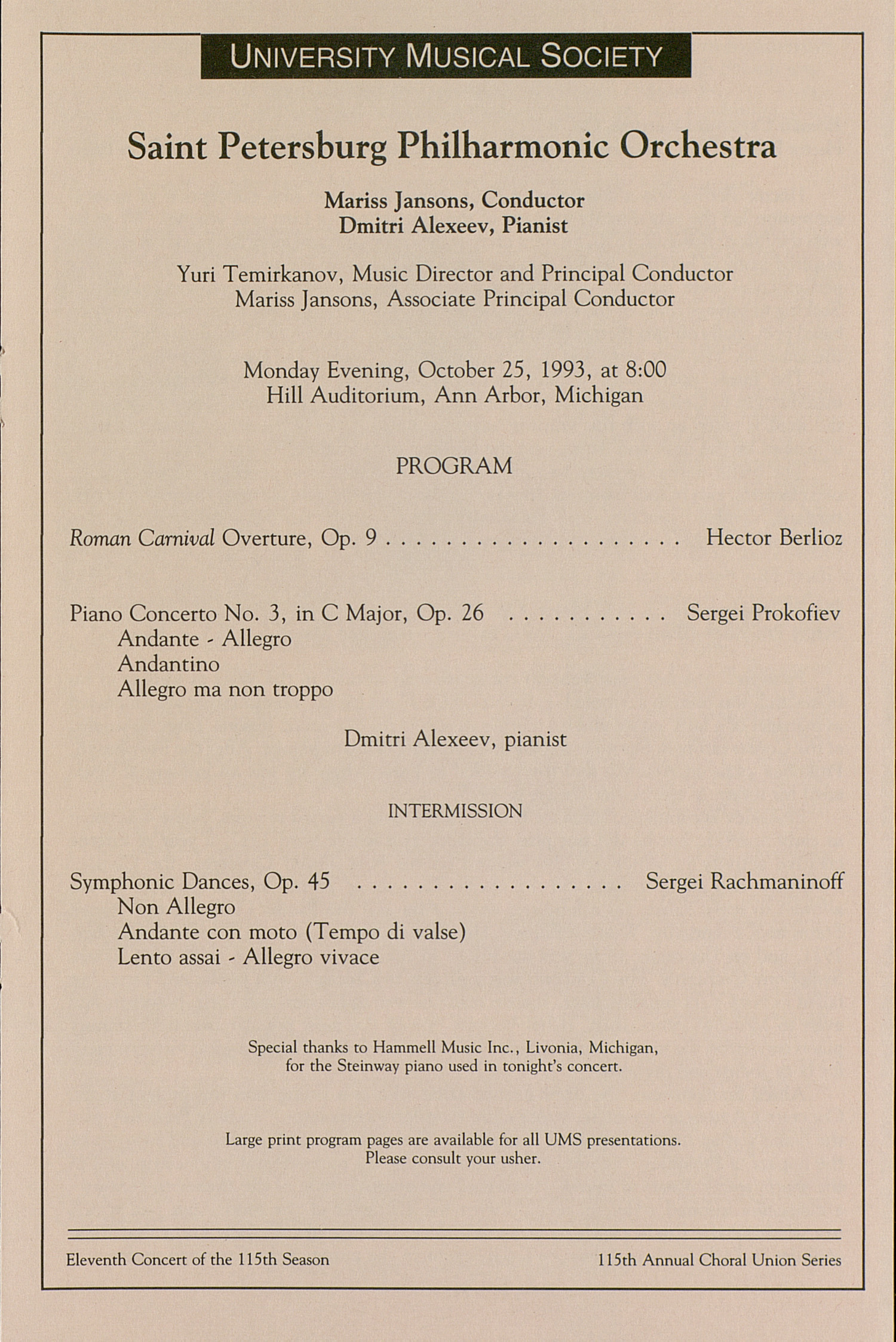 UMS Concert Program, October 25, 1993: University Musical Society -- Saint Petersburg Philharmonic Orchestra image