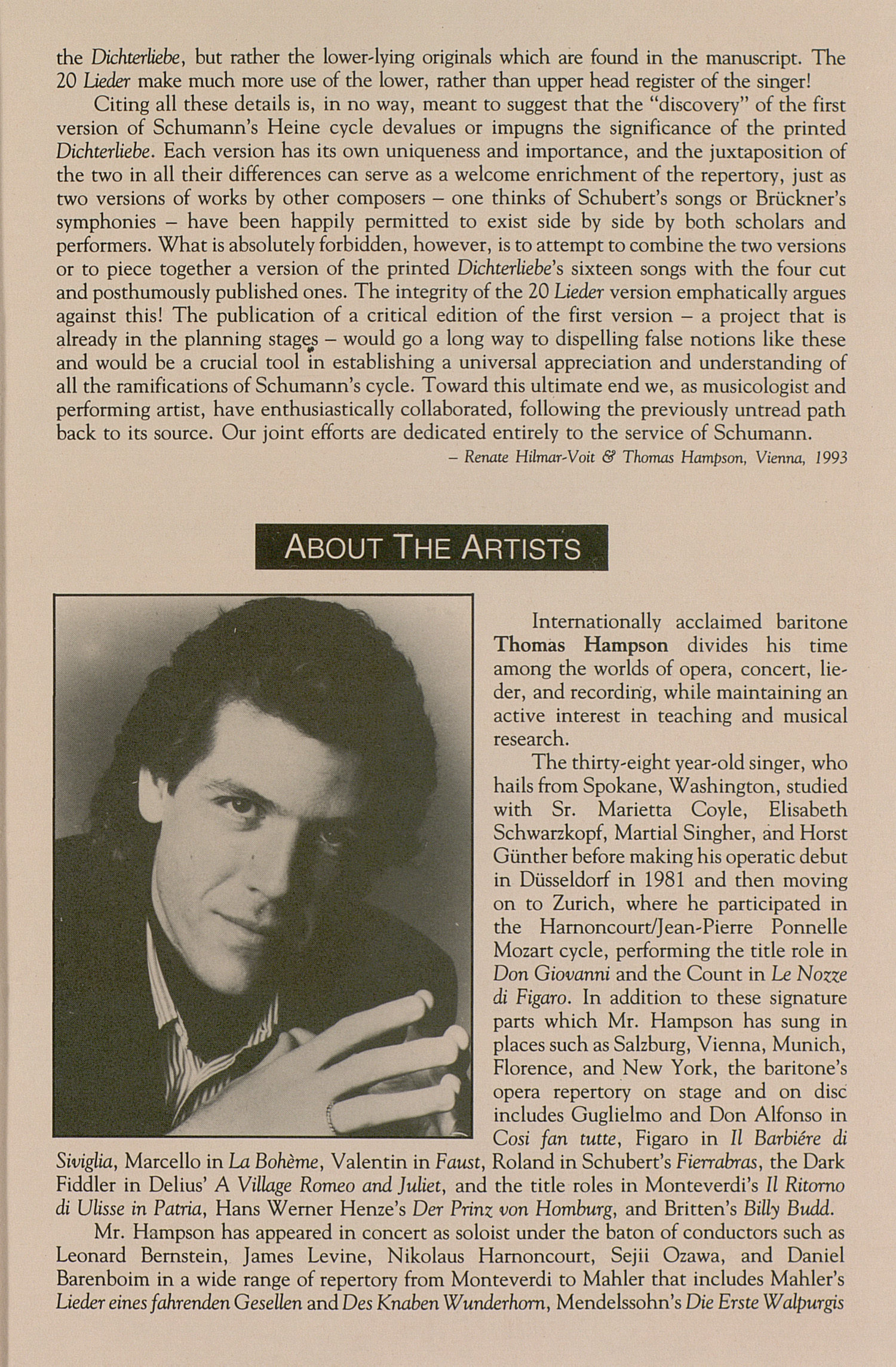 UMS Concert Program, November 7, 1993: University Musical Society --  image