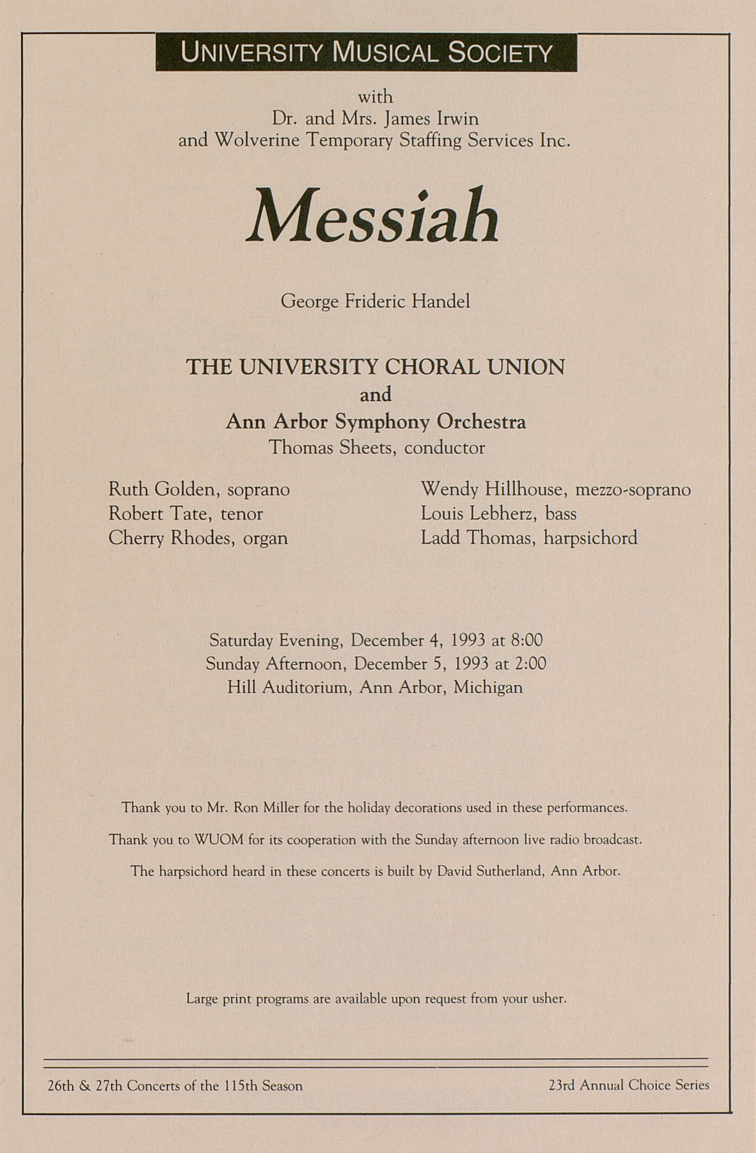 UMS Concert Program, December 4-5, 1993: Messiah -- George Frideric Handel image