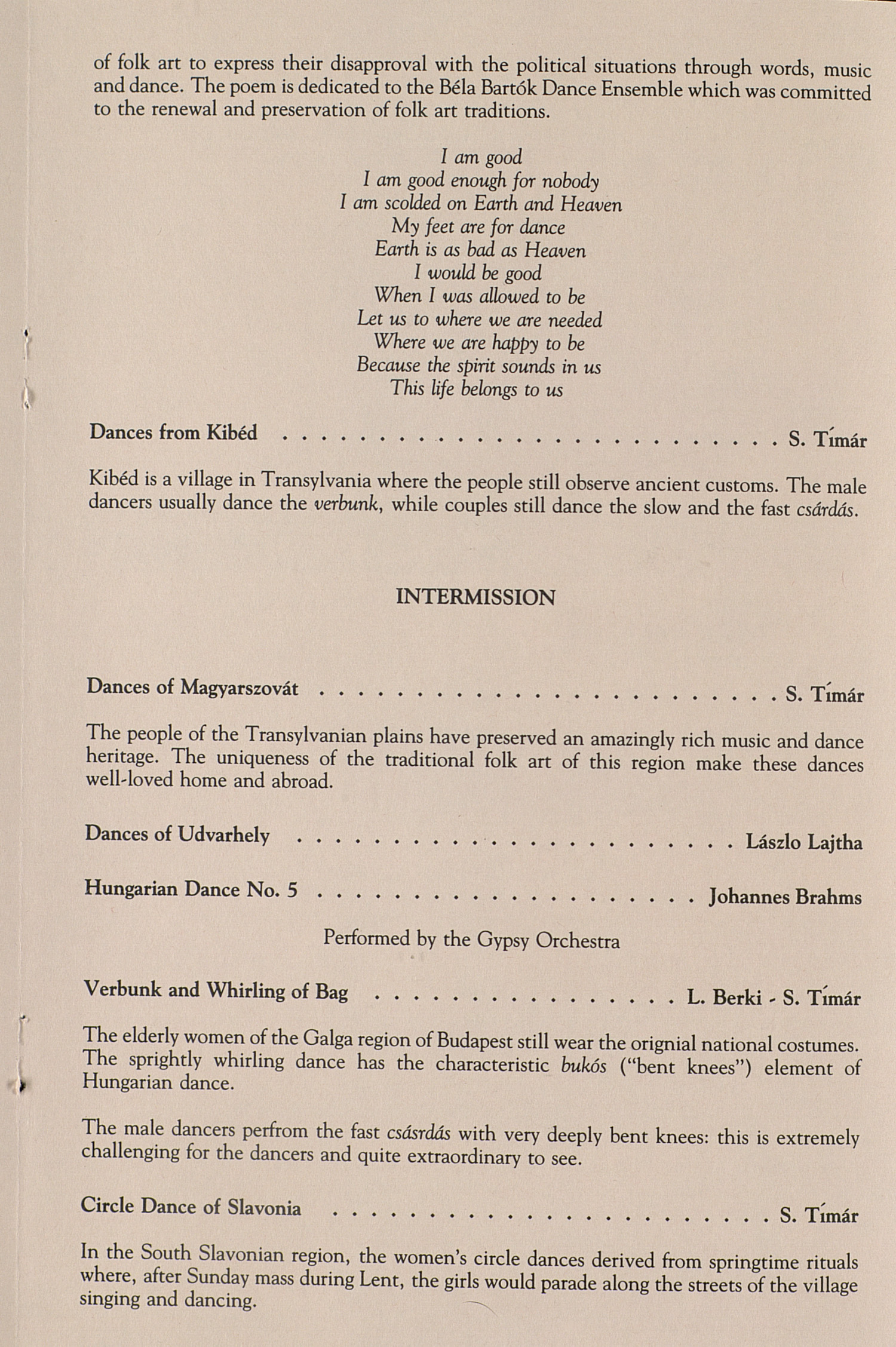 UMS Concert Program, February 11, 1994: Hungarian State Folk Ensemble --  image