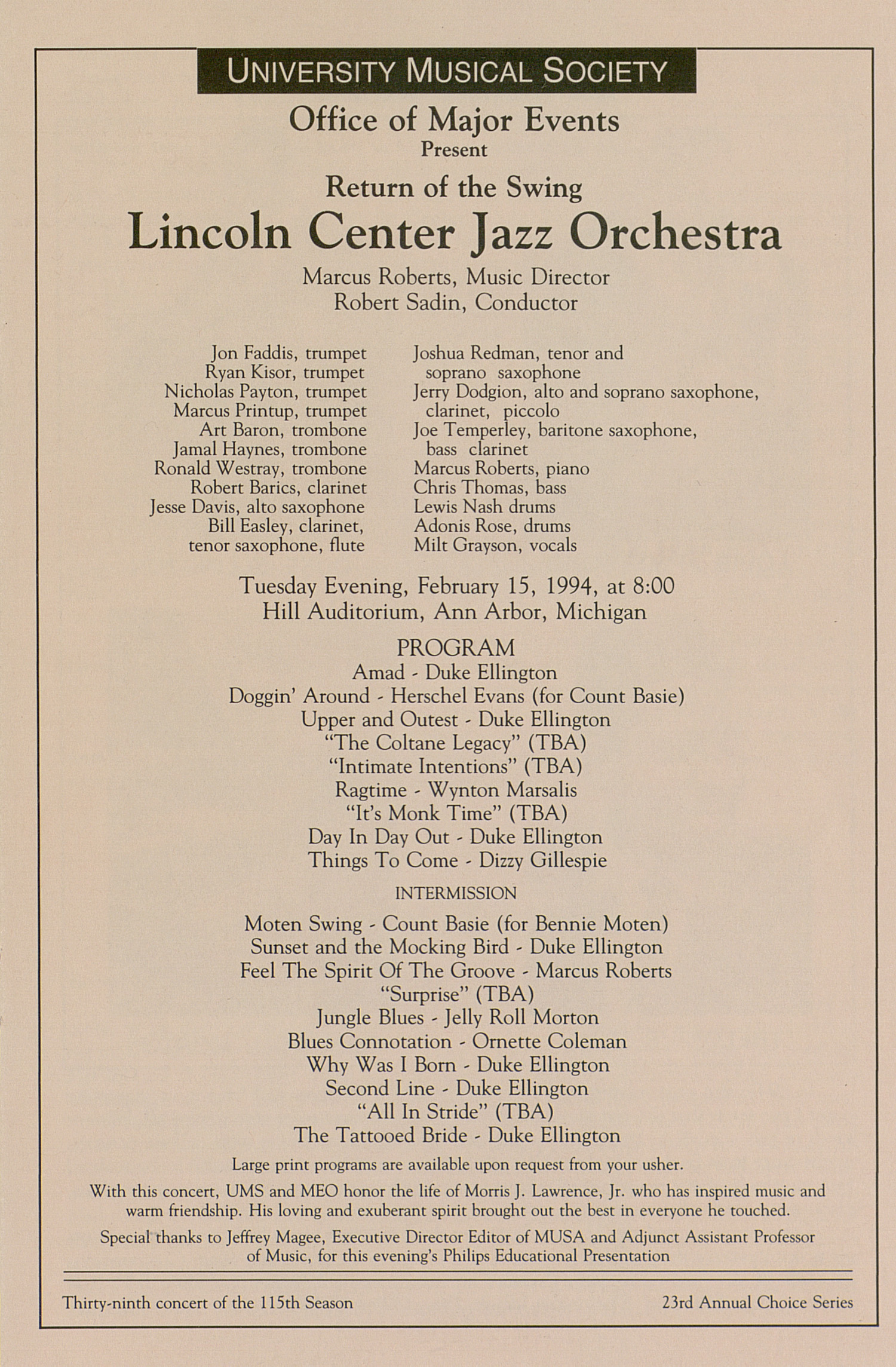 UMS Concert Program, February 15, 1994: University Musical Society -- Lincoln Center Jazz Orchestra image