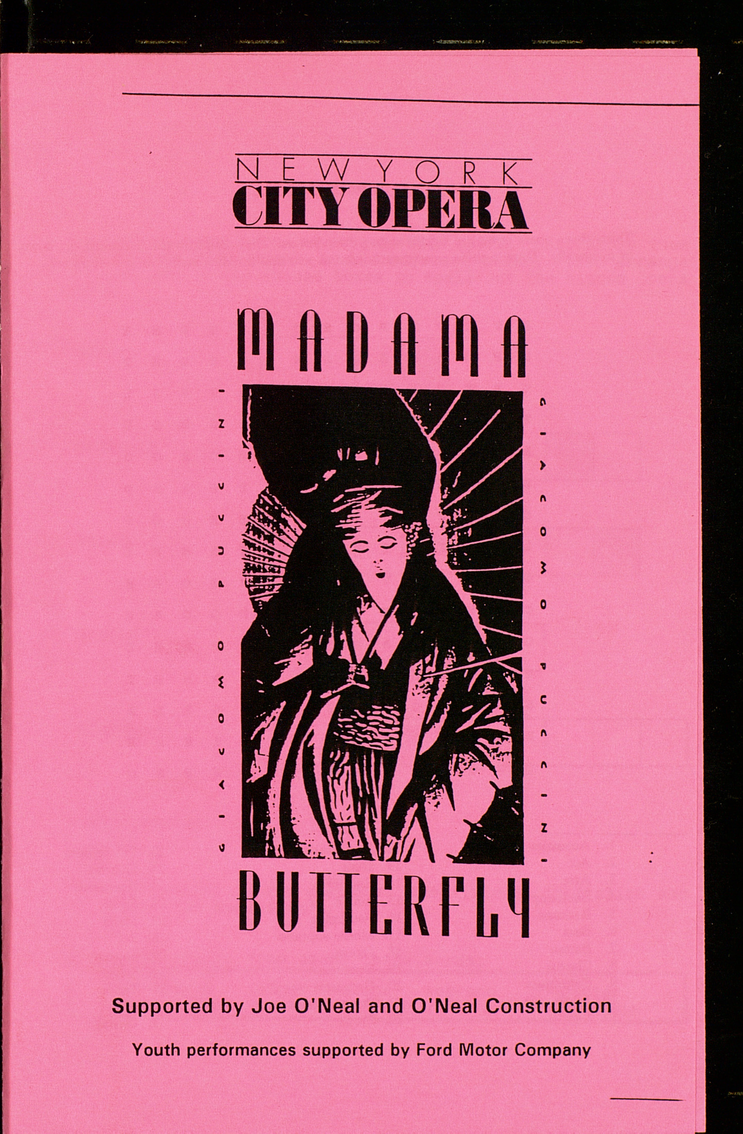 UMS Concert Program, March 1, 3, 4, 5, 1994: Madama Butterfly -- New York City Opera National Company image