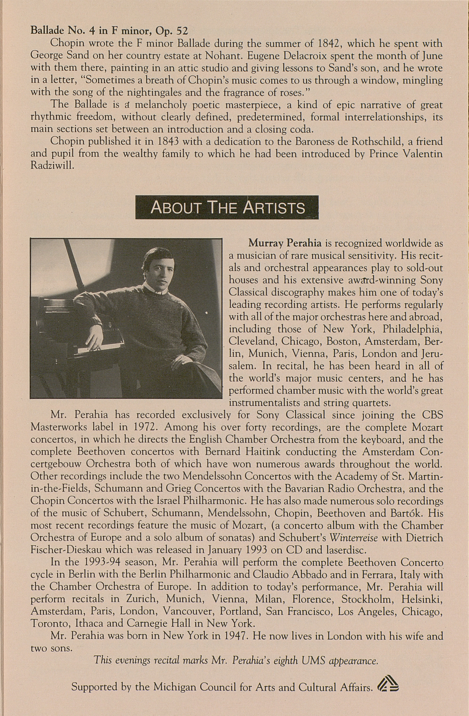 UMS Concert Program, March 23, 1994: University Musical Society --  image