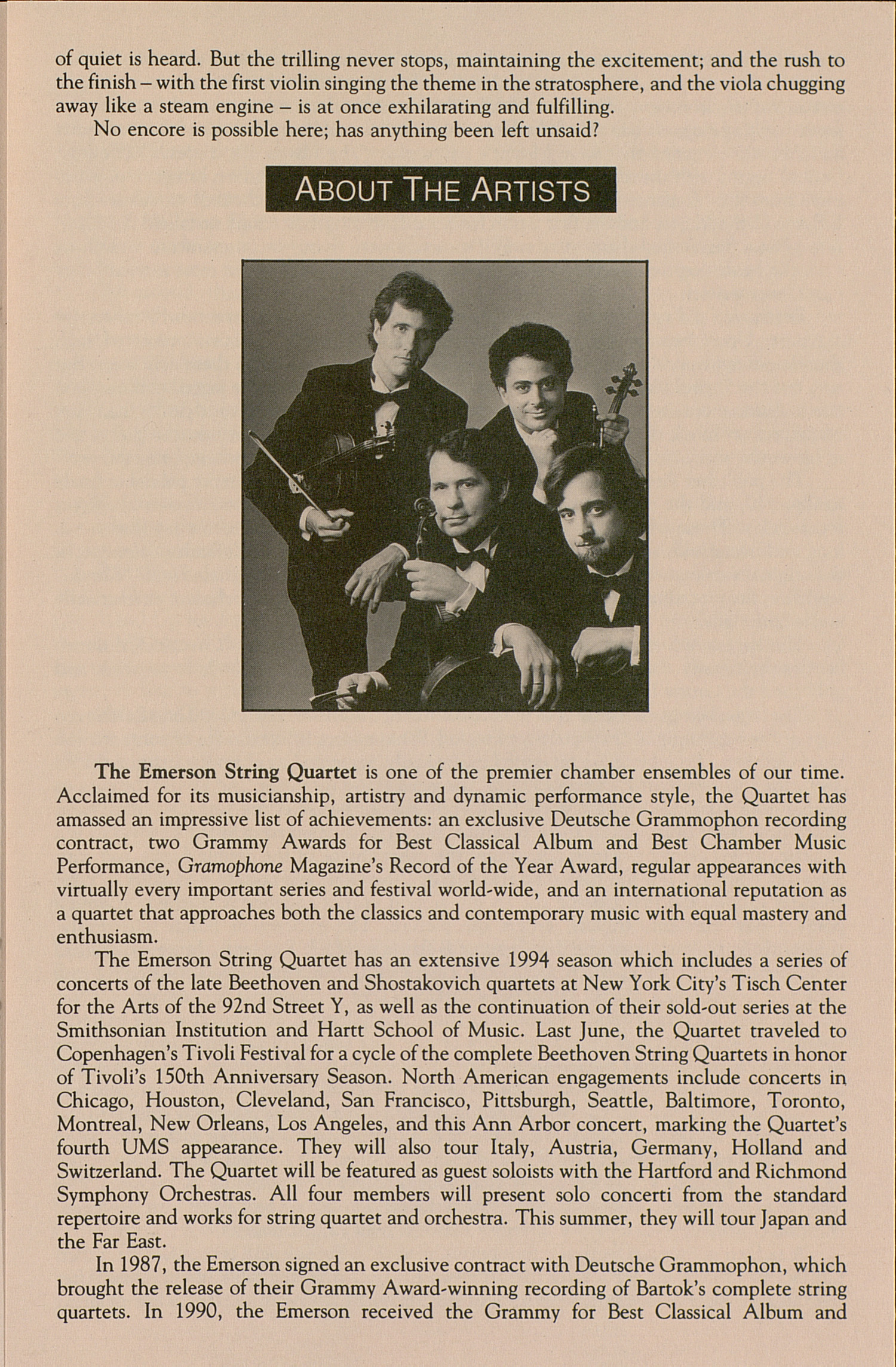 UMS Concert Program, March 25, 1994: Emerson String Quartet --  image