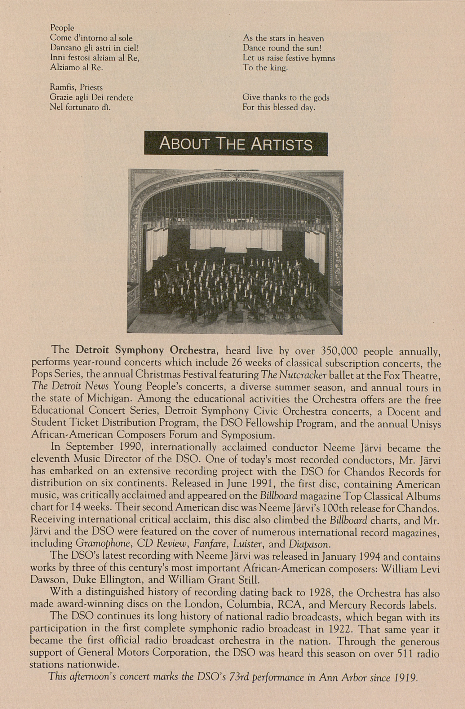 UMS Concert Program, April 17, 1994: University Musical Society -- Detroit Symphony Orchestra image