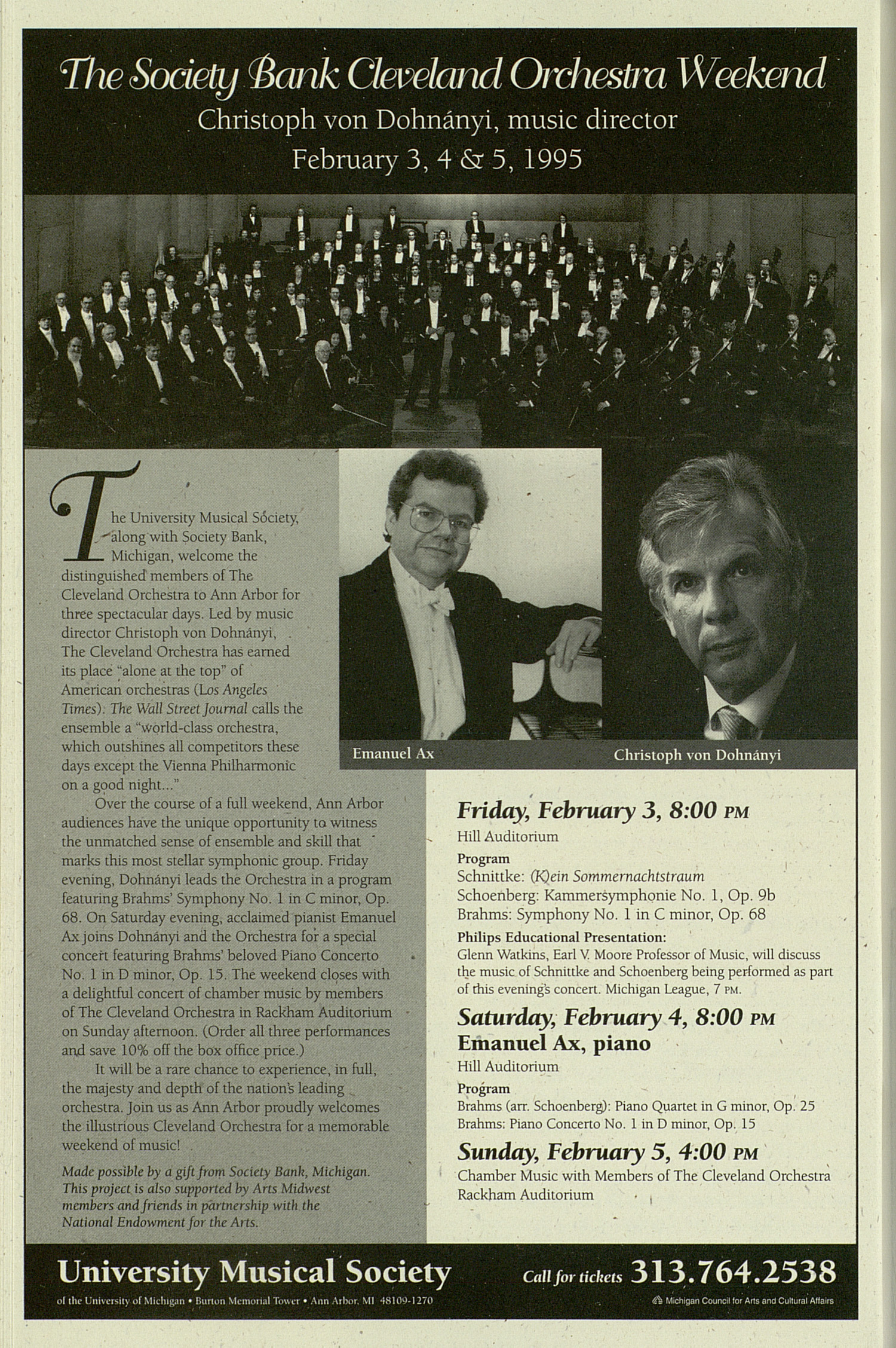 UMS Concert Program, Friday Nov. 04 To 13: University Musical Society: 1994-1995 Fall - Friday Nov. 04 To 13 --  image