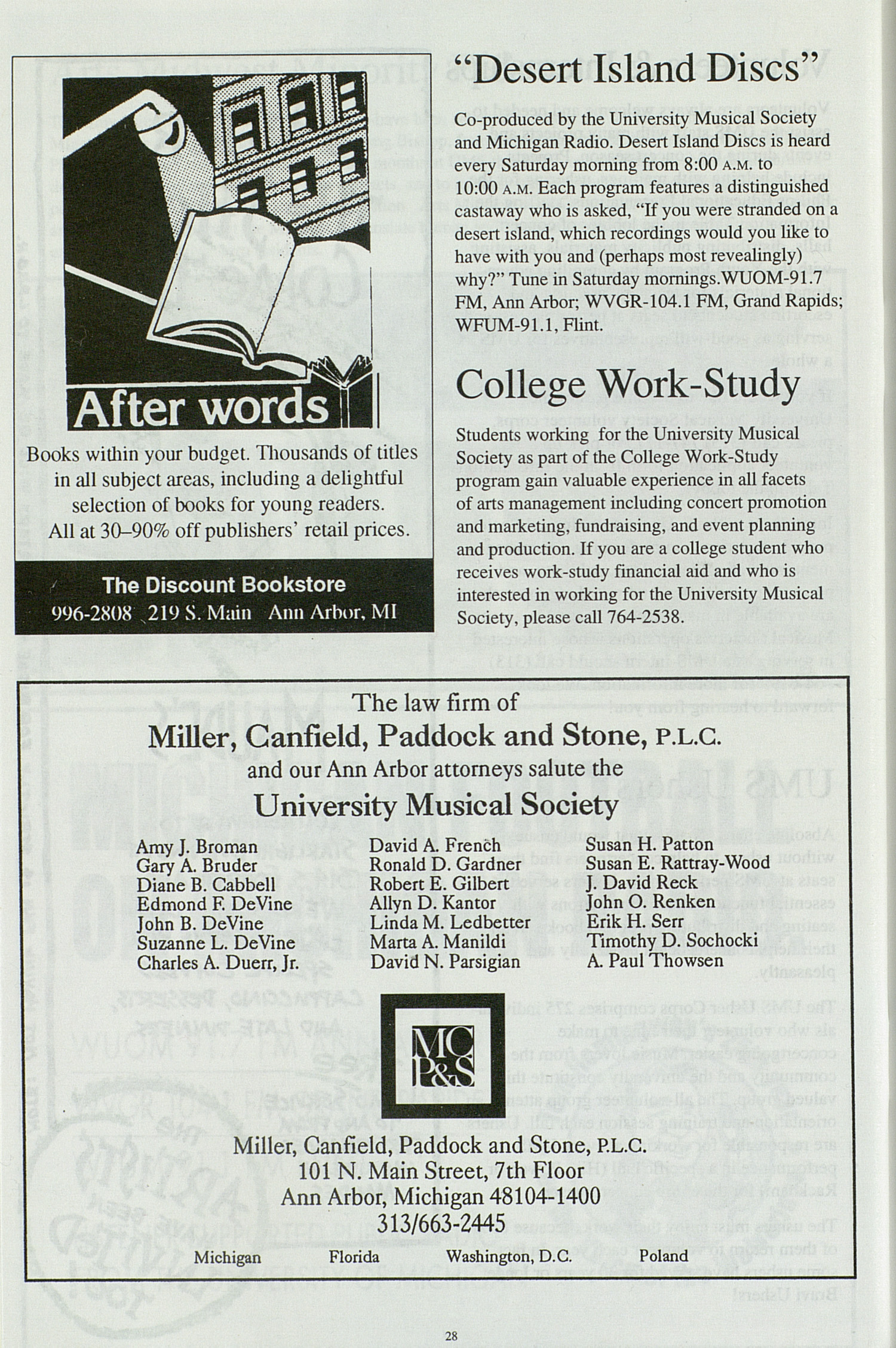 UMS Concert Program, Tuesday Nov. 15 To 20: University Musical Society: 1994-1995 Fall - Tuesday Nov. 15 To 20 --  image