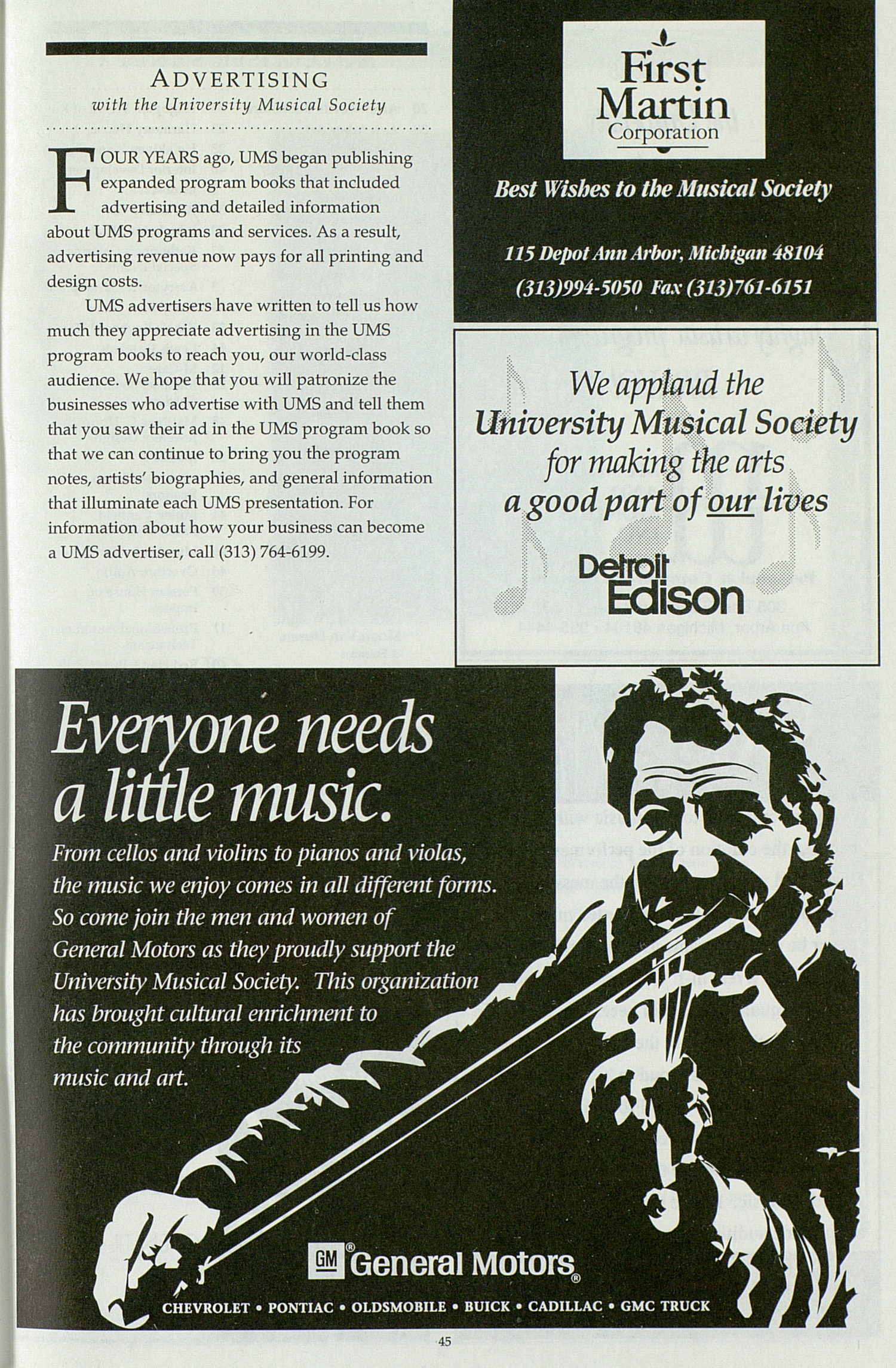 UMS Concert Program, Tuesday Feb. 28 To Mar. 05: University Musical Society: 1994-1995 Winter - Tuesday Feb. 28 To Mar. 05 --  image