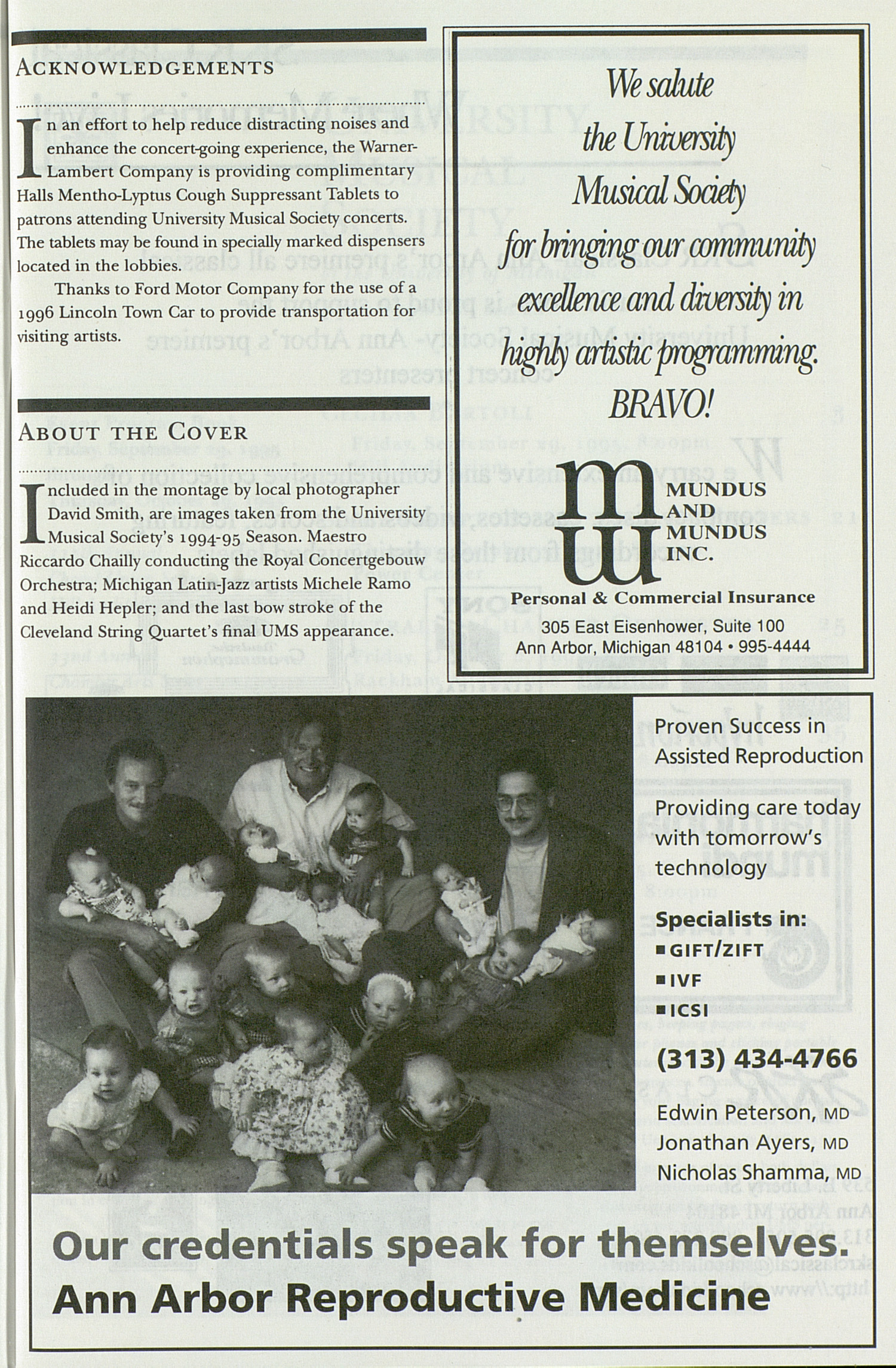 UMS Concert Program, Friday Sep. 29 To Oct. 26: University Musical Society: 1995-1996 Fall - Friday Sep. 29 To Oct. 26 --  image